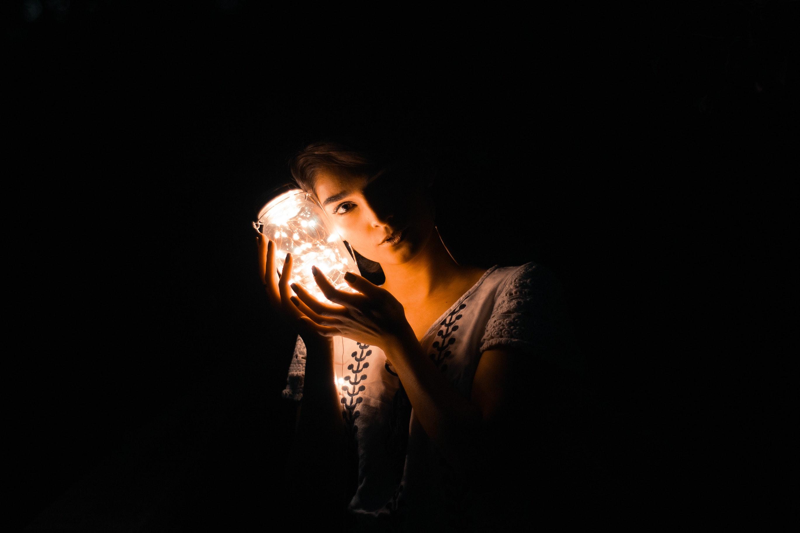 Beautiful Dark Face Female Hands Holding Jar Light Model Person Photoshoot Portrait Pose Y String