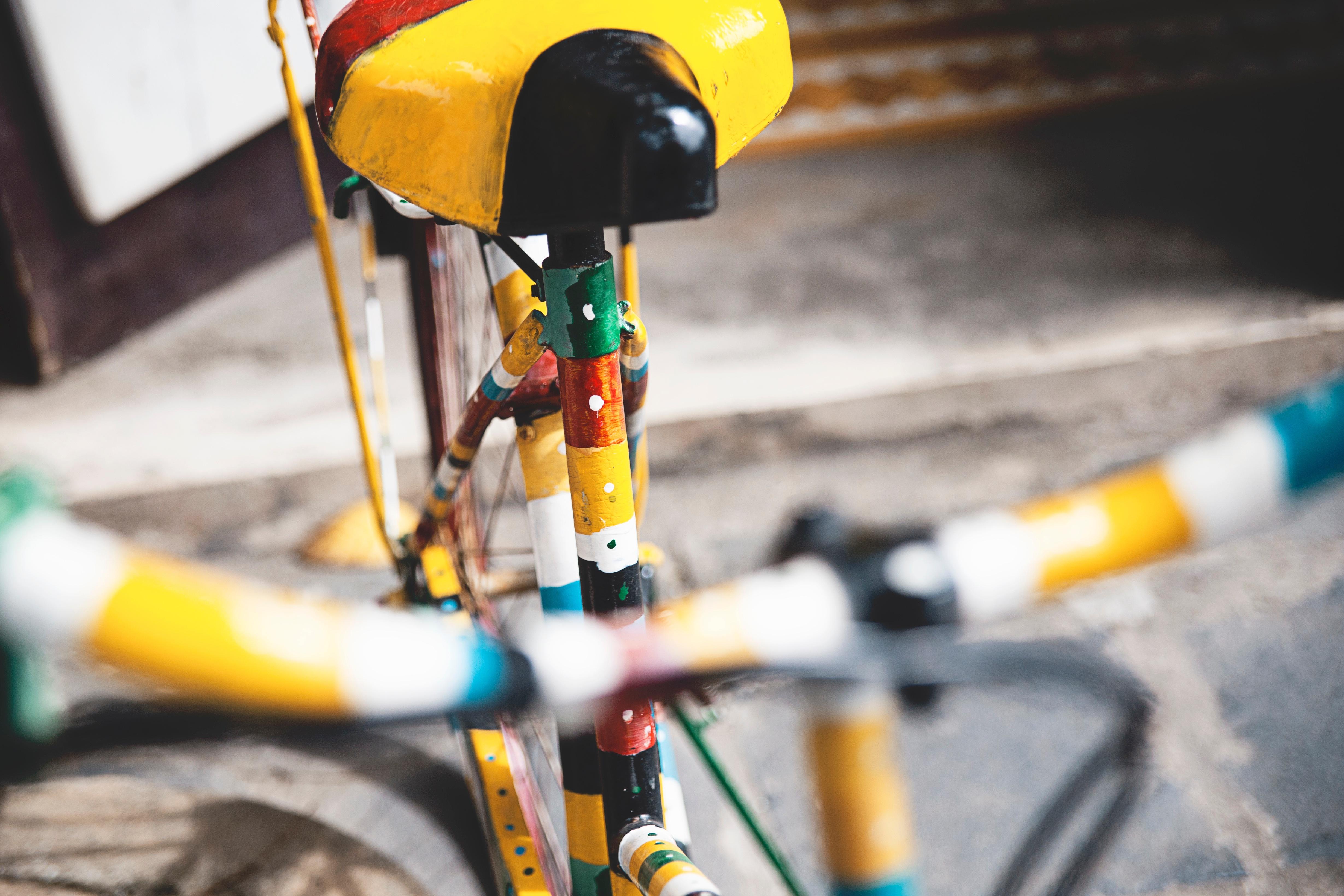 Kostenlose foto : Fahrrad, Fahrzeug, Farbe, bunt, Gelb ...