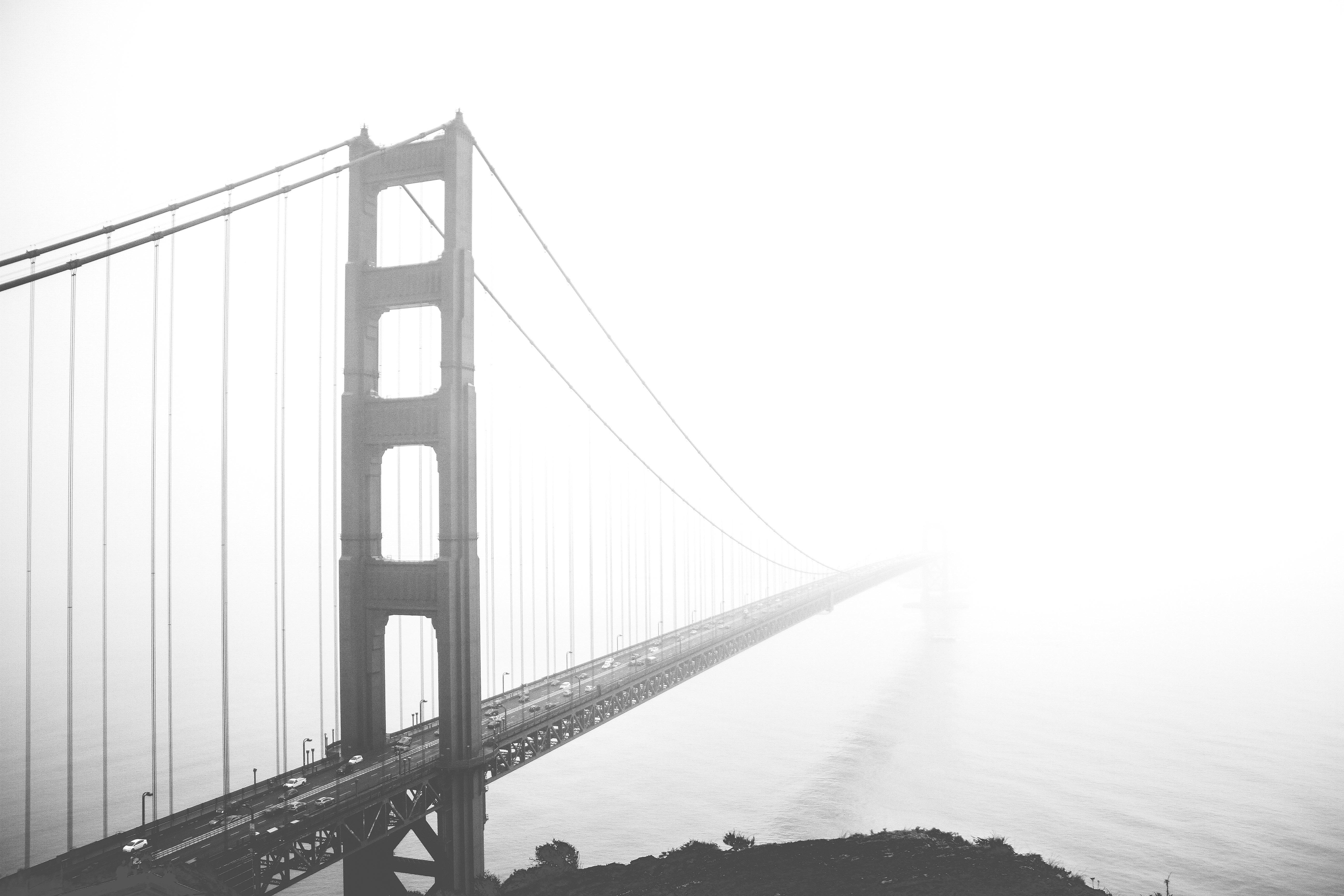 Free Images : black and white, fog, golden gate bridge ...