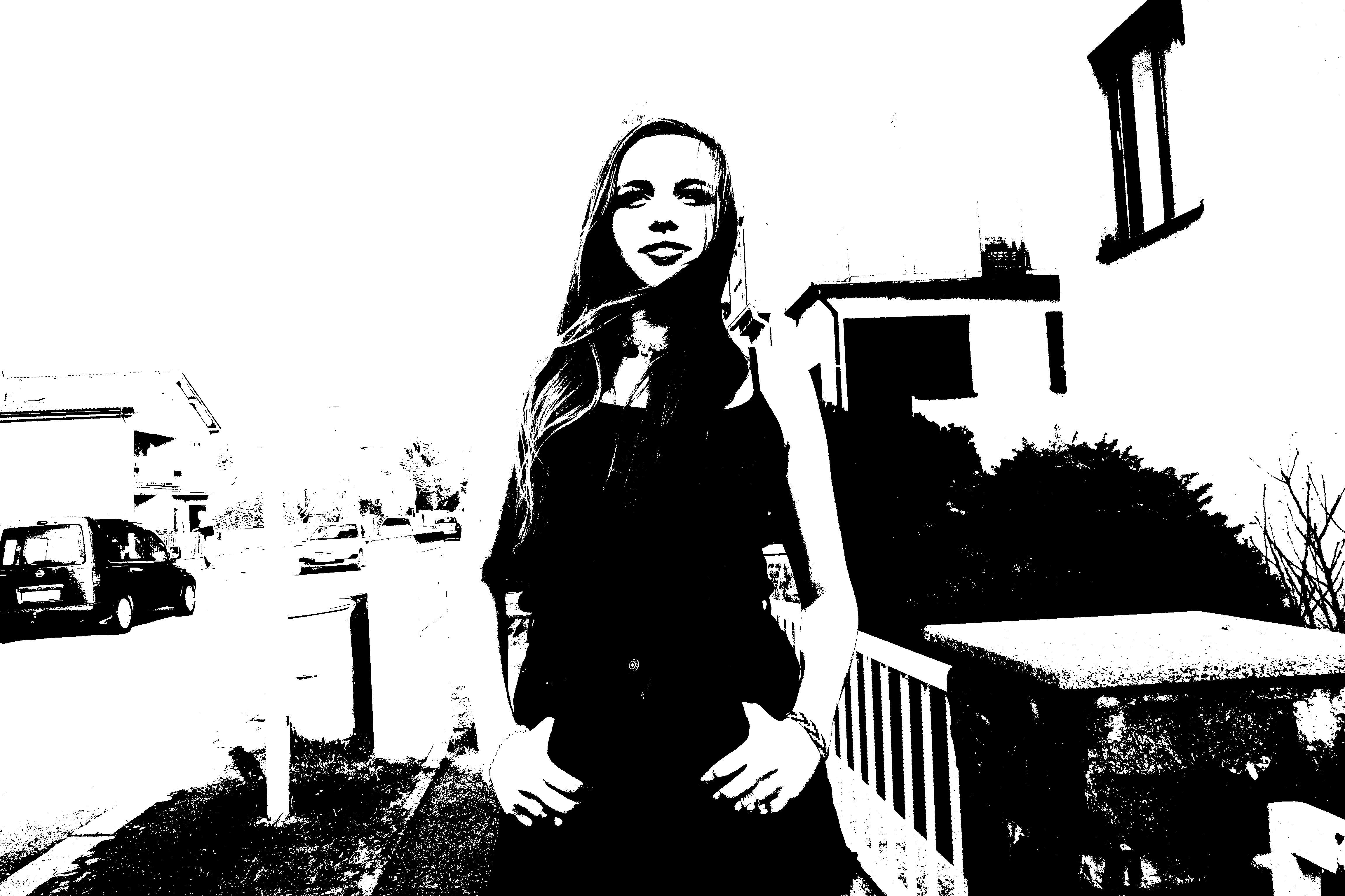 Gambar Hitam Dan Putih Gadis Model Satu Warna Sketsa