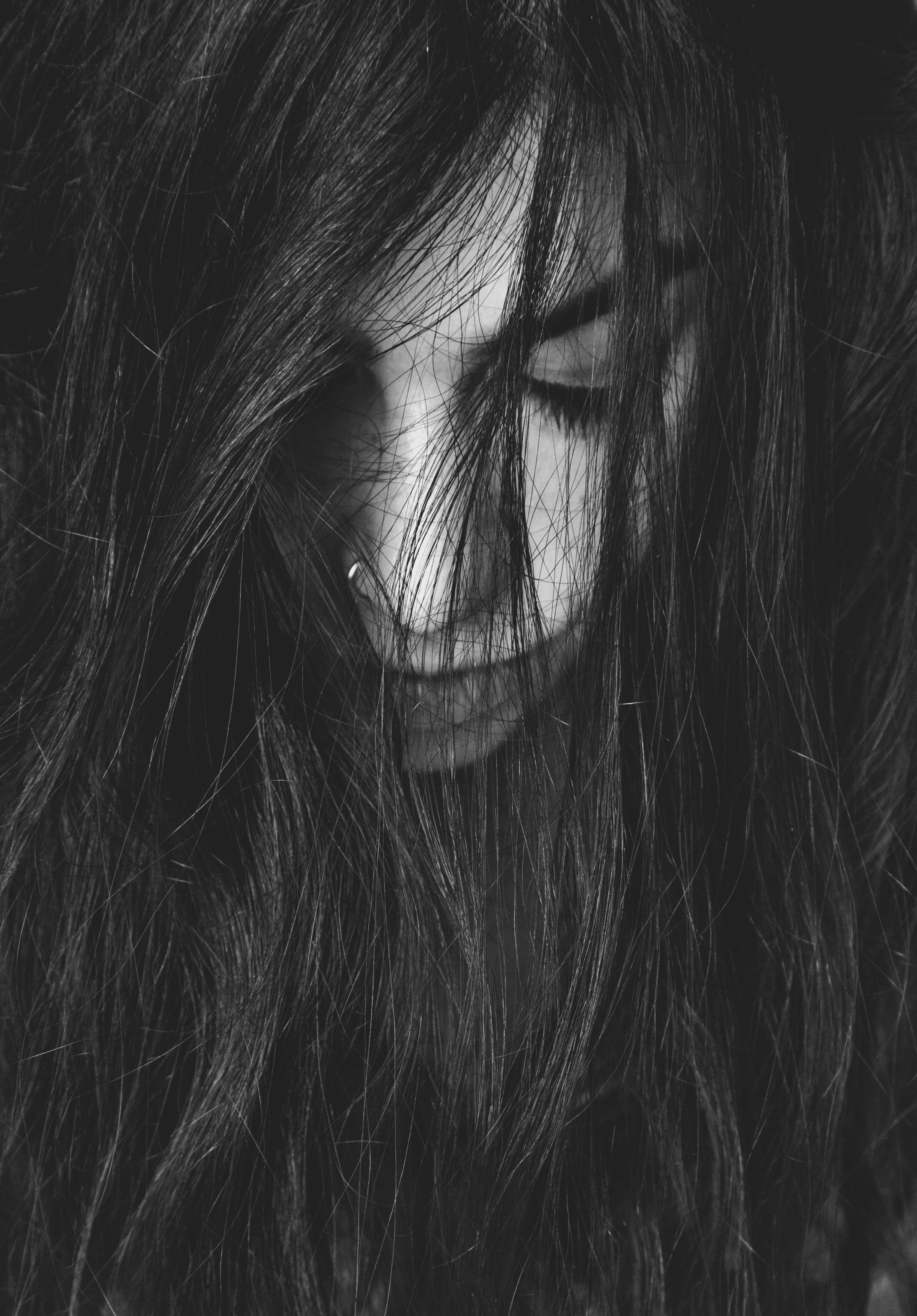 Gambar Hitam Dan Putih Rambut Potret Kegelapan Satu