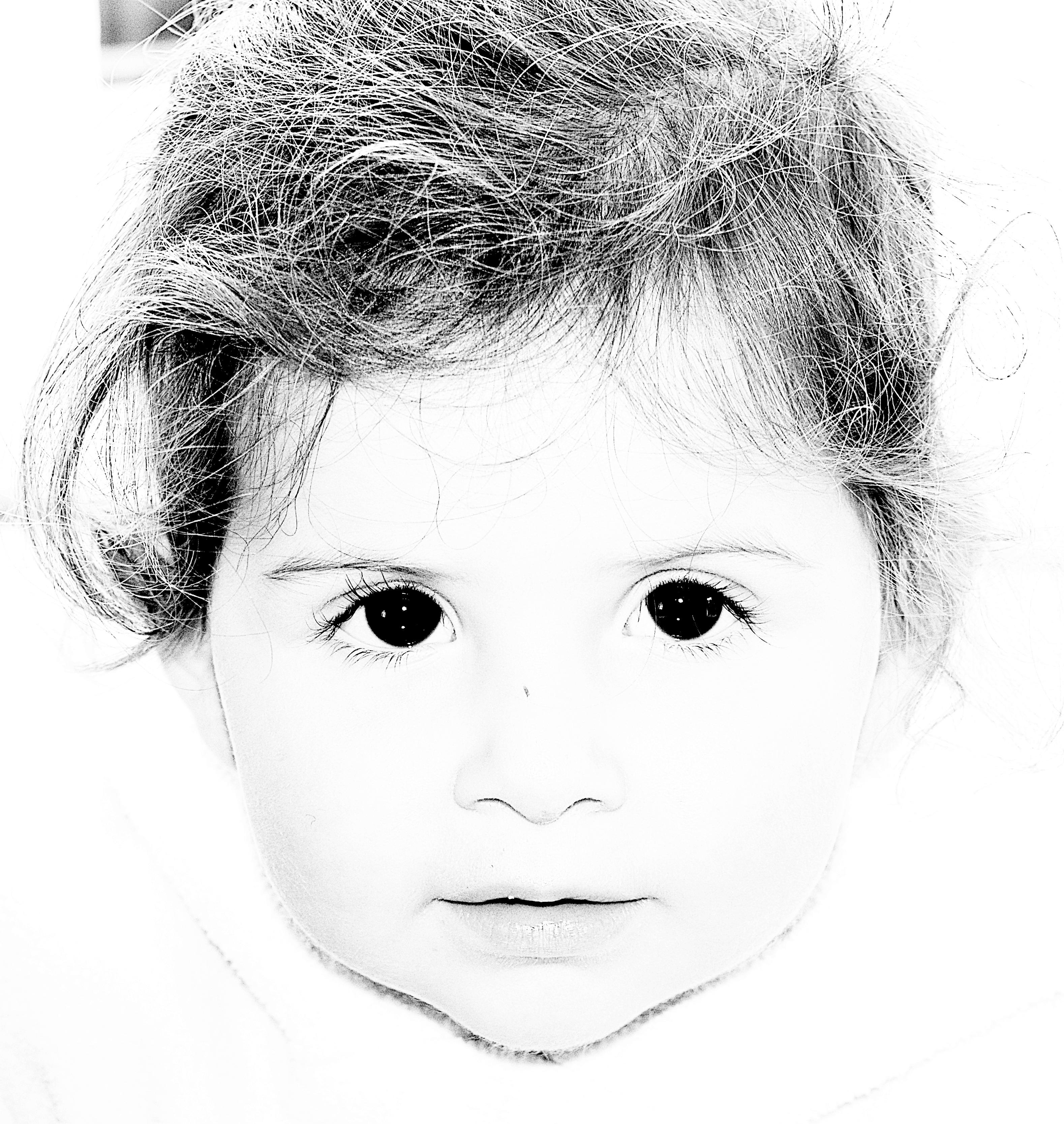 Kostenlose foto Schwarz und weiß Haar Aussicht Porträt