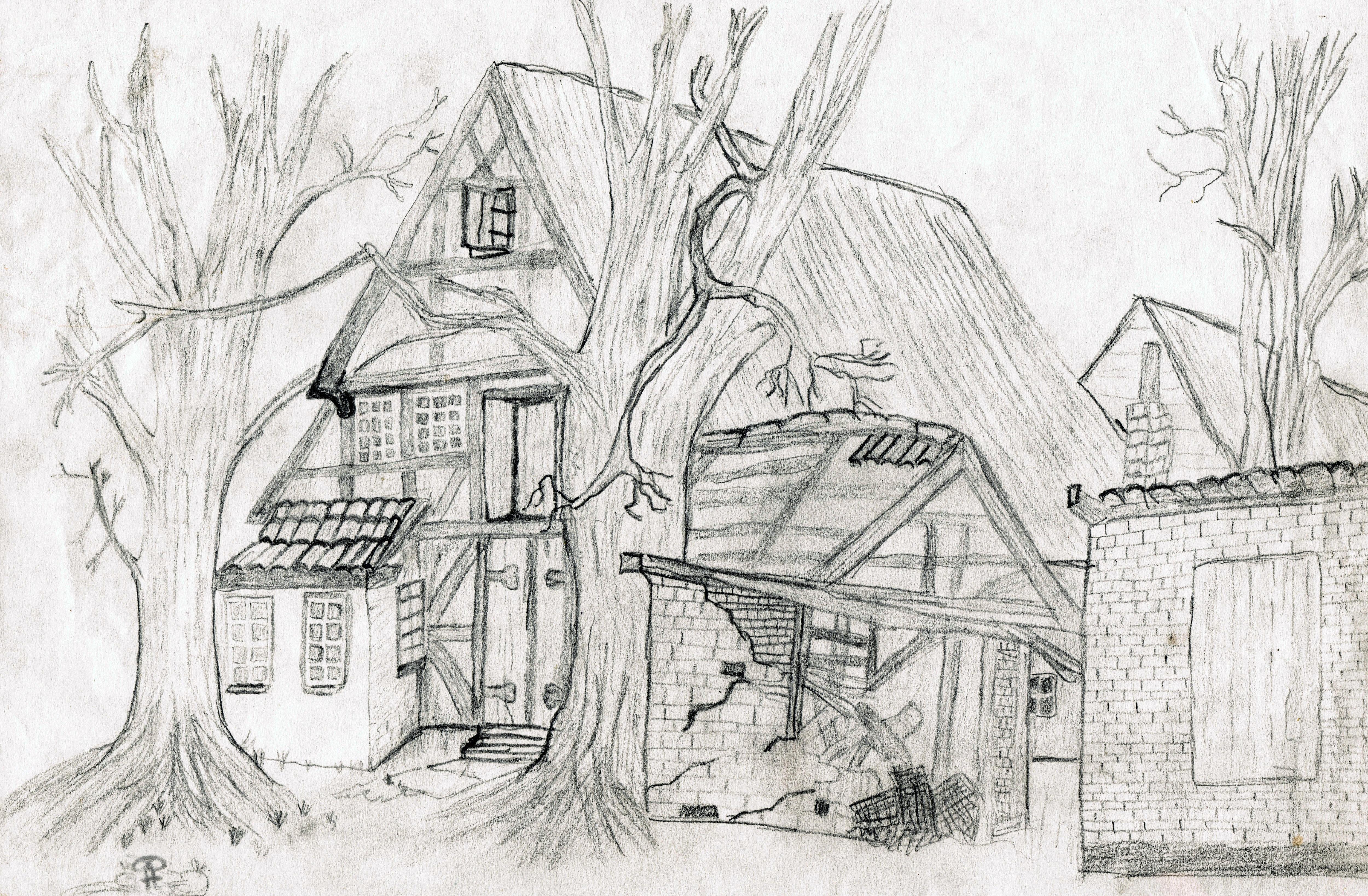 Obrazy Cierna A Biela Stary Domov Maľovat Zrucanina