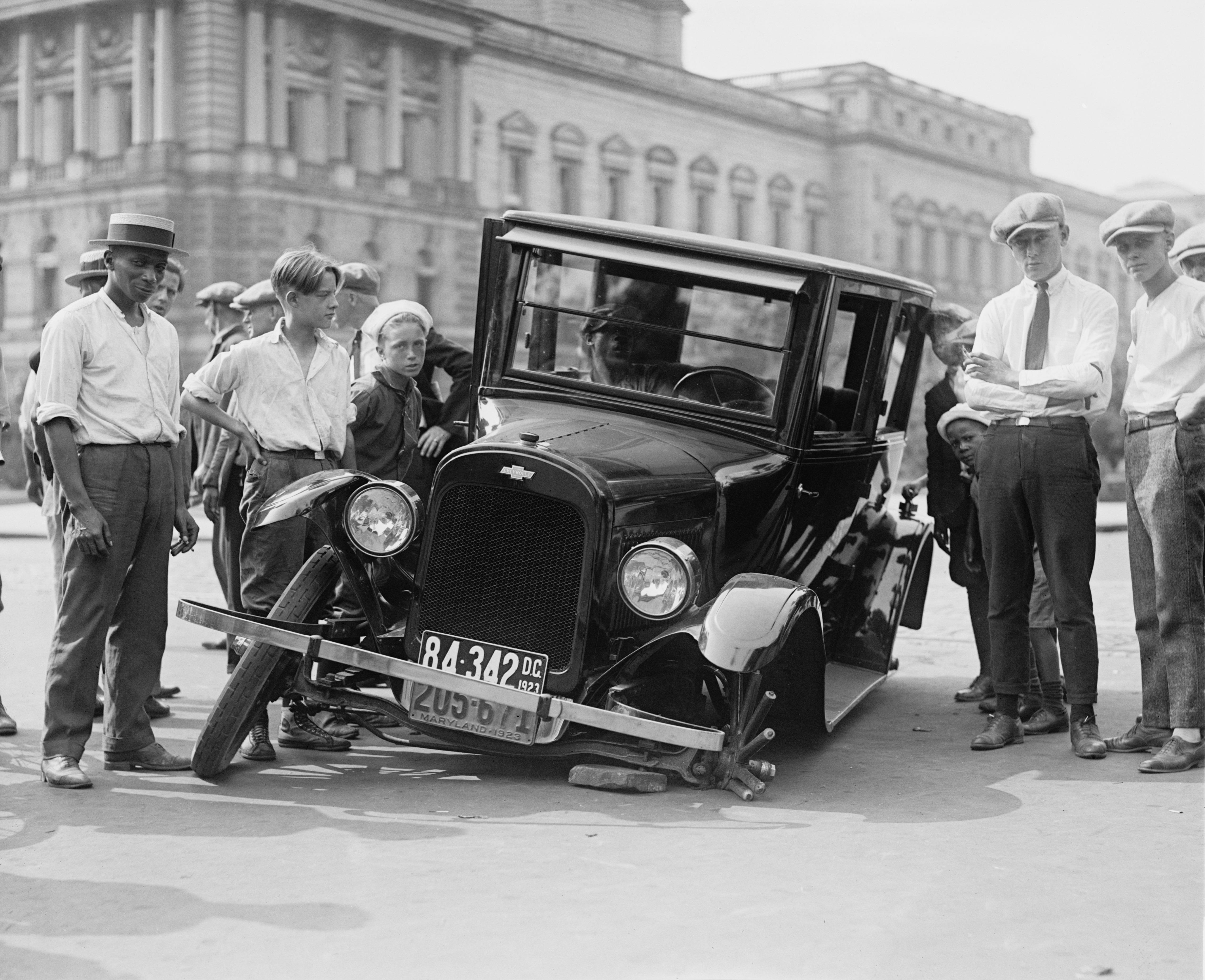 Black And White People Car Vehicle Broken Usa Auto Monochrome Automotive Vintage Oldtimer Classic Defect