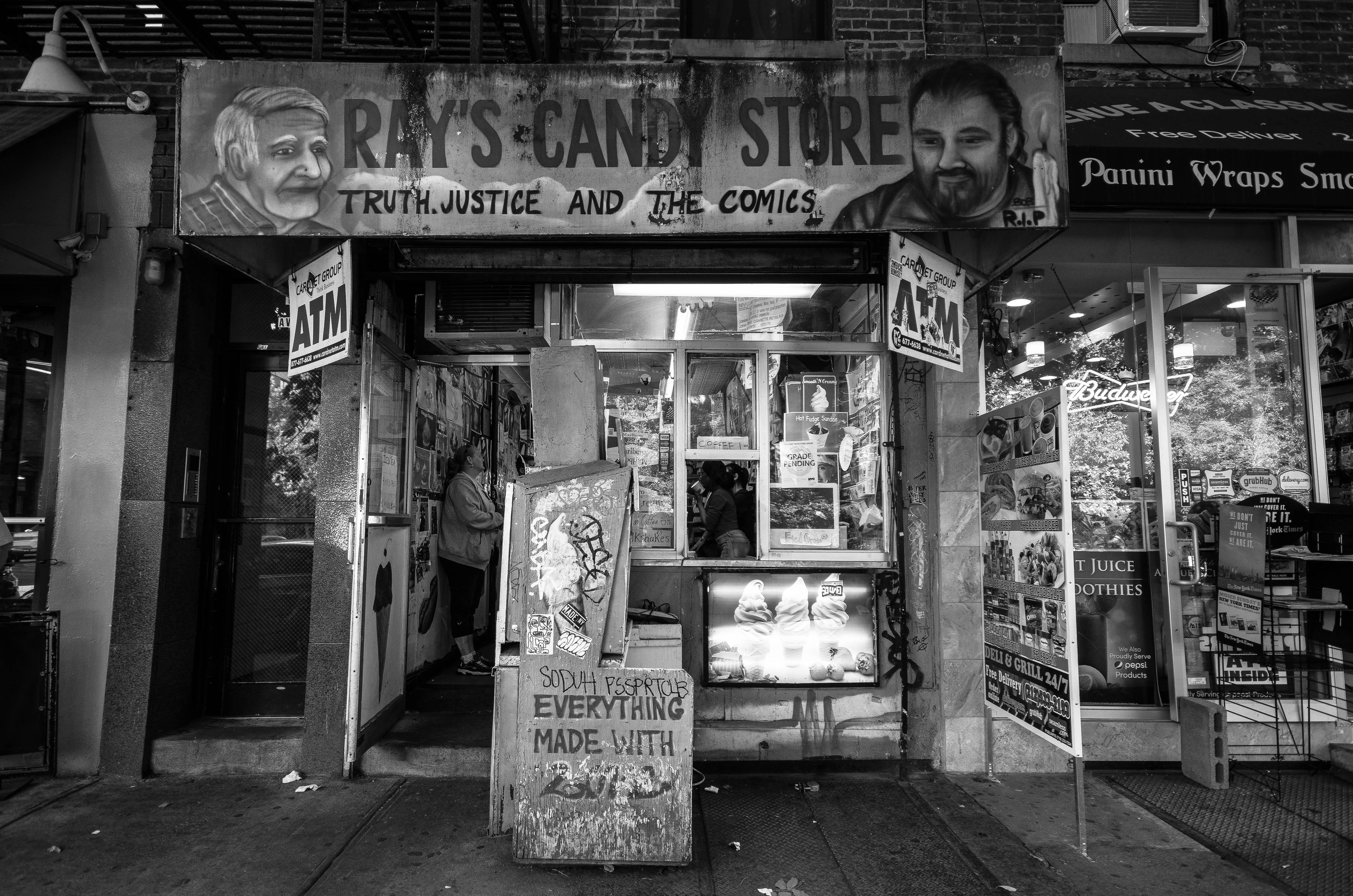 nyc street bw candy alley blanco negro graffiti urban manhattan eastvillage raw east noir storefront blanc york infrastructure area tienda