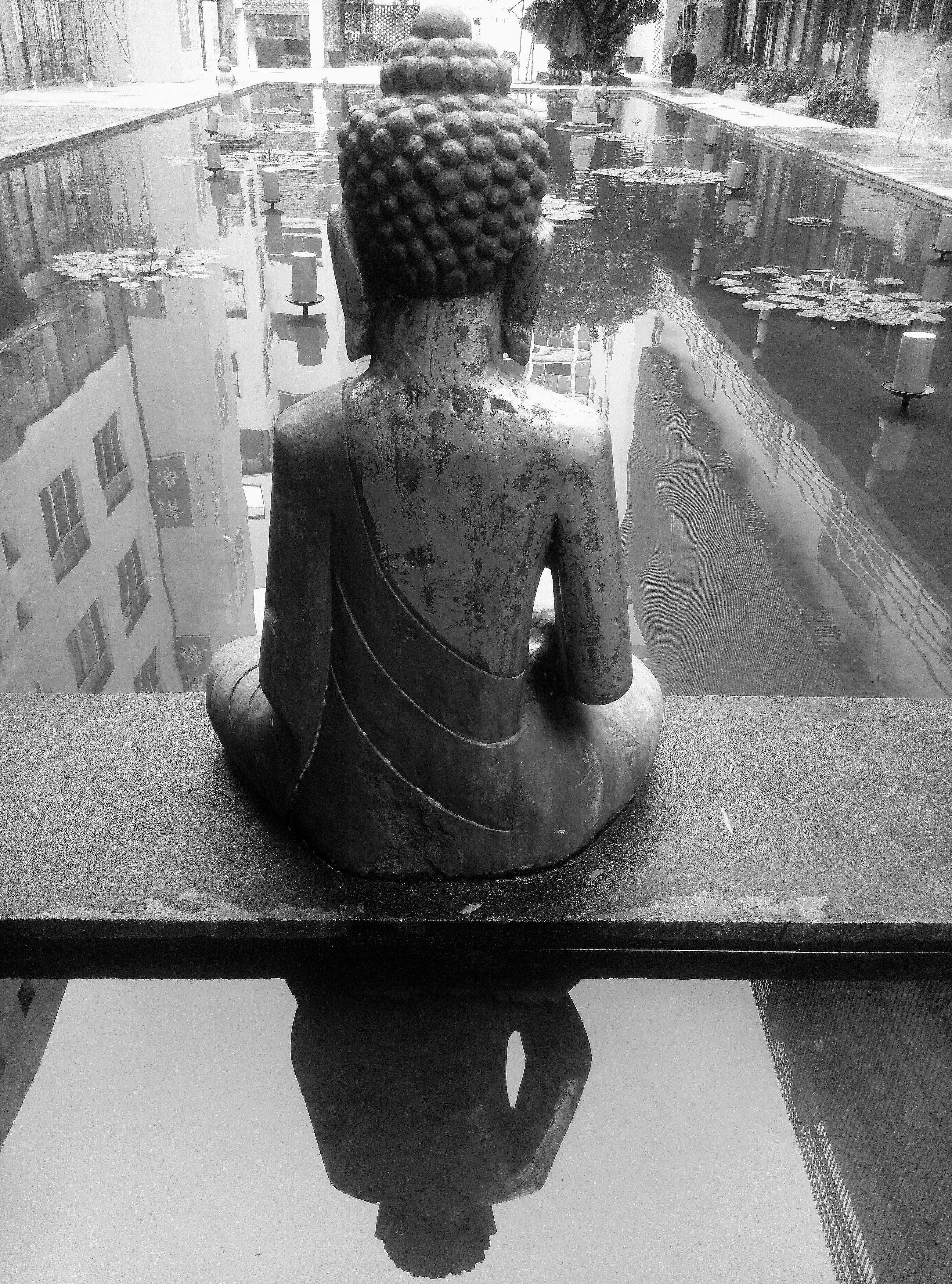 Black and white white photography monument pond statue black monochrome zen sculpture art meditation temple back