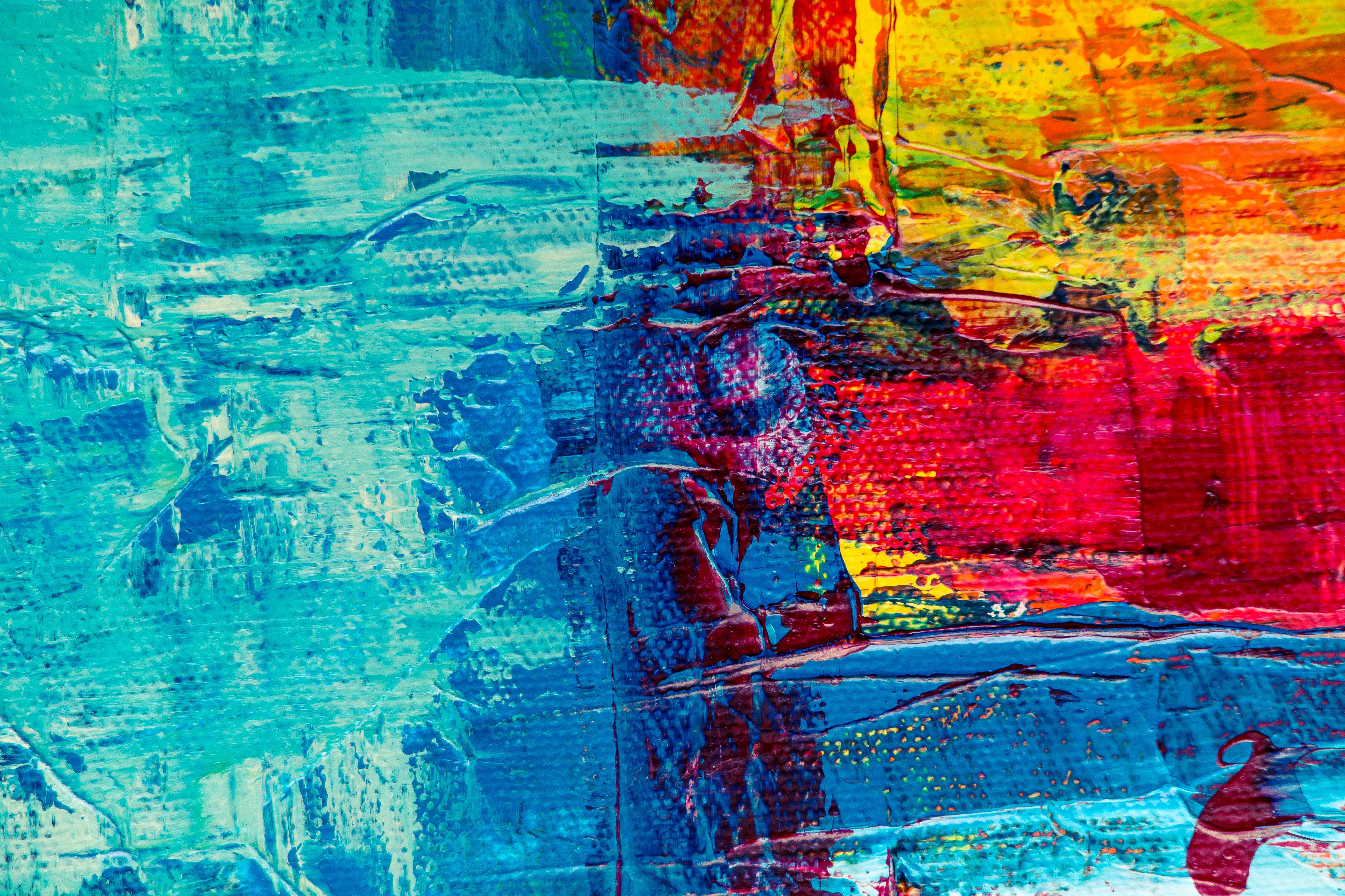 Fotoğraf Mavi Su Boyama Yansıma Modern Sanat Akrilik Boya