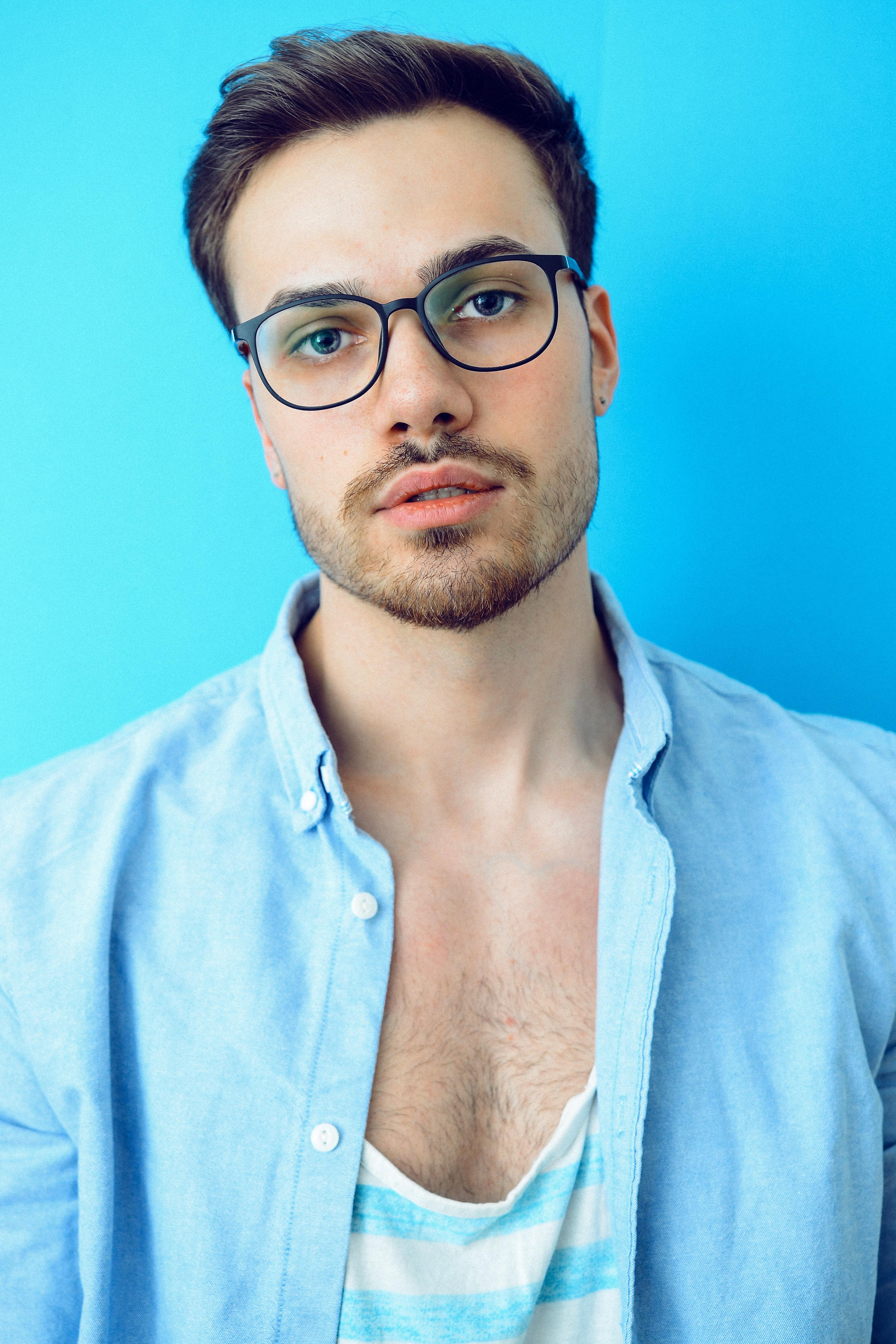 Free Images : blue, casual, eyeglasses, eyewear, face