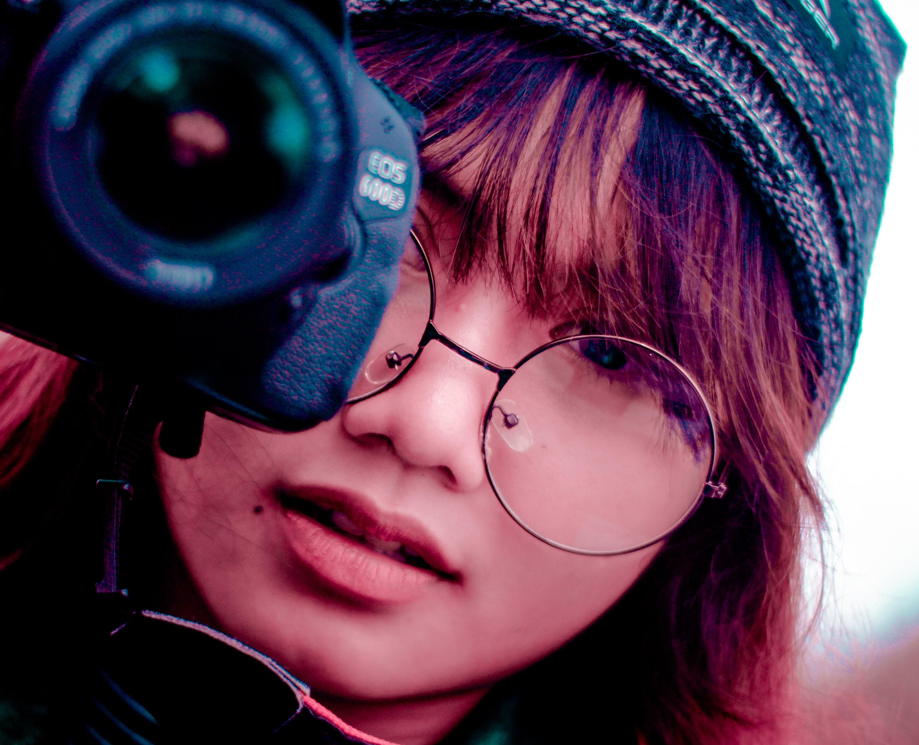 c71b96ce30 difuminar capó cámara lente de la cámara ojo los anteojos cara Moda hembra  niña cabello lente