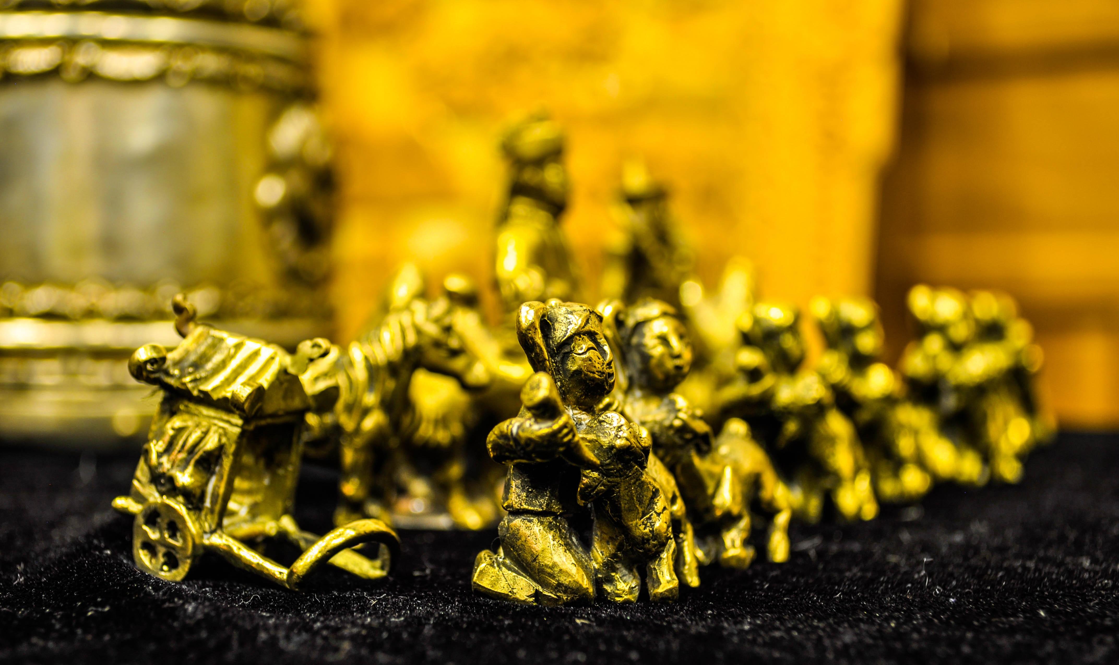 tablero antiguo juego jugar flor antiguo metal amarillo oro diseo ajedrez hecho a mano juegos mongolia
