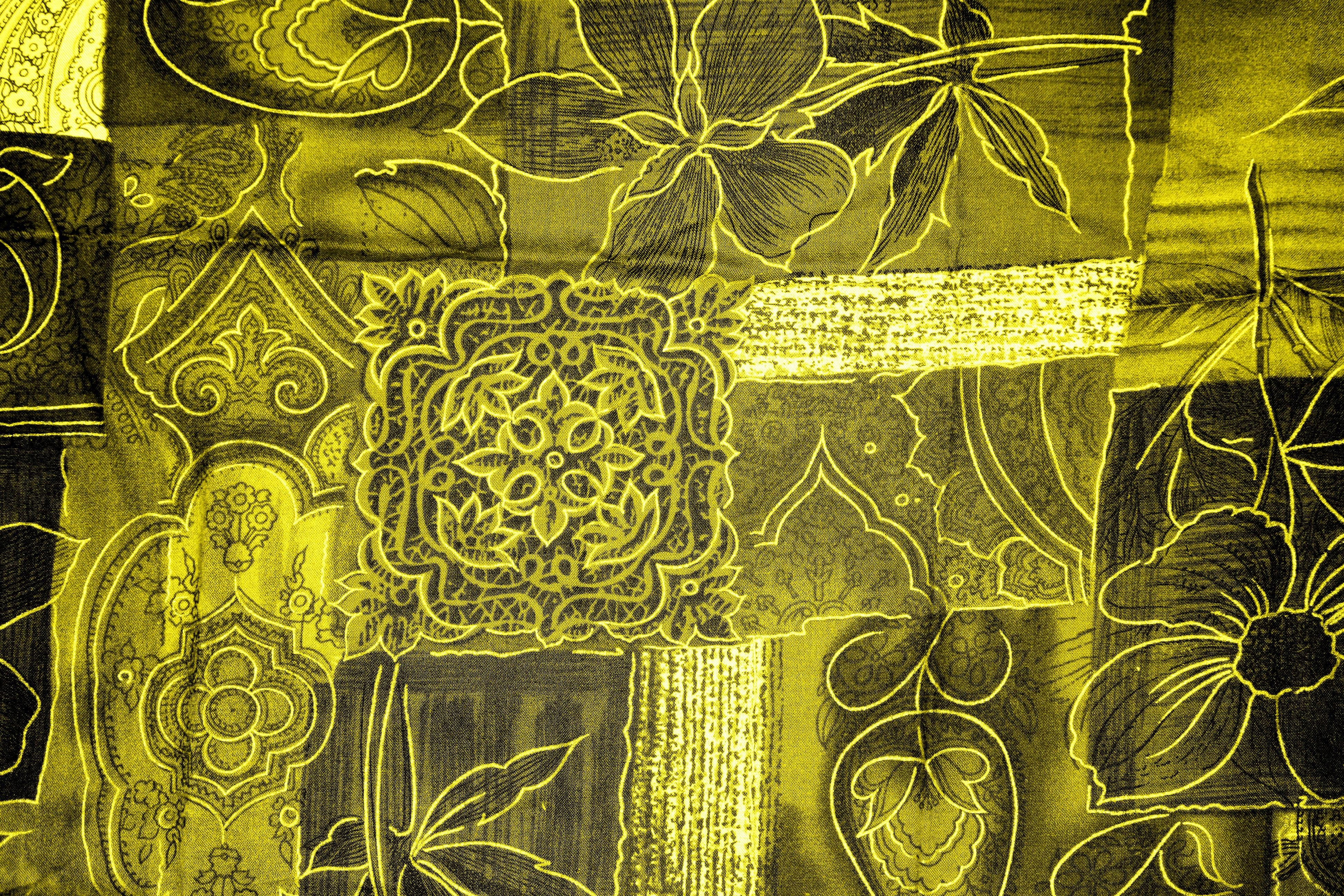 Flowers Fabric Close Up Patchwork Textile Colors Background Illustration Design Symmetry Wallpaper Tapestry Boss Silk Screenshot Golden