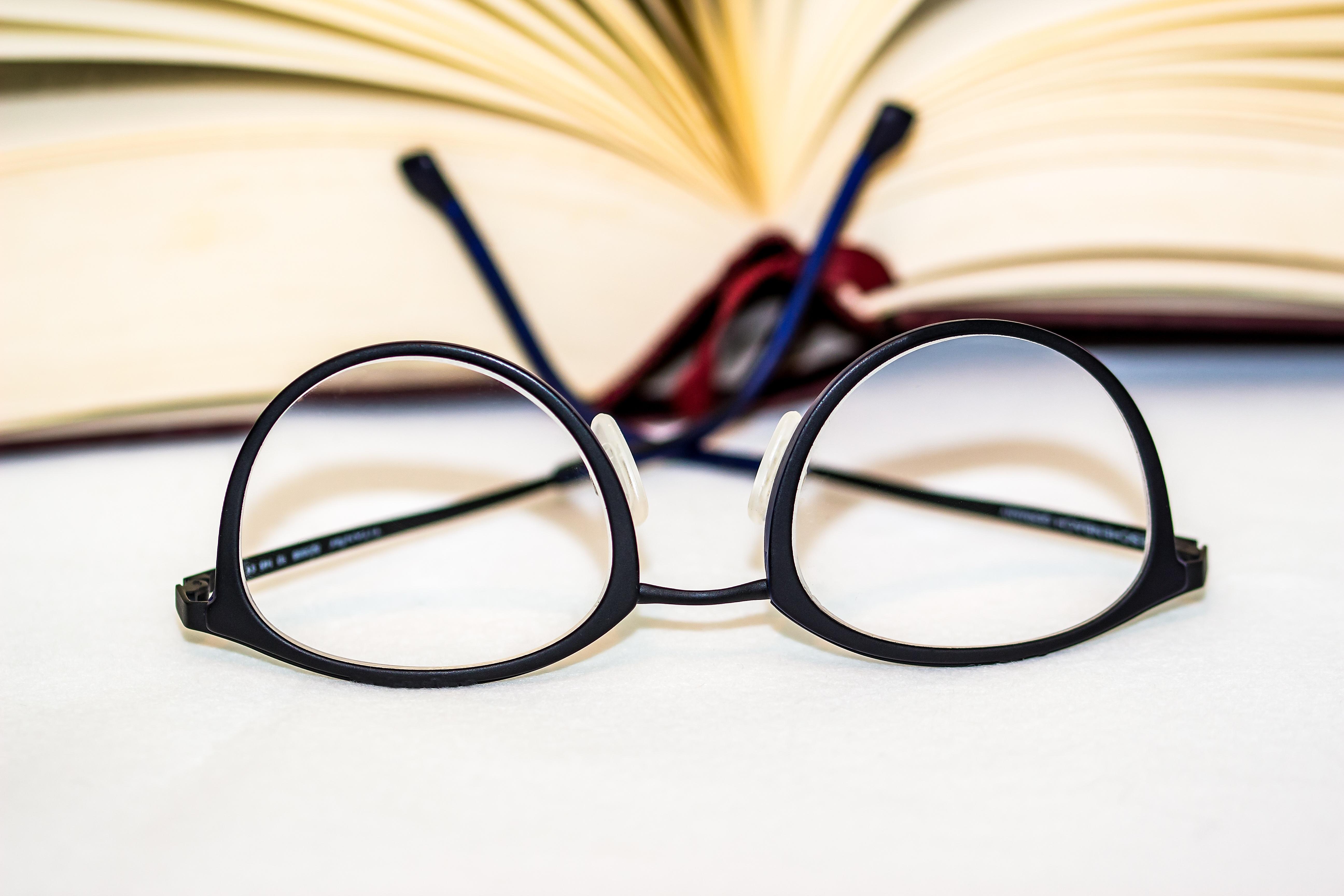 Free Images : open book, eyewear, sharpness, lenses, reading glasses