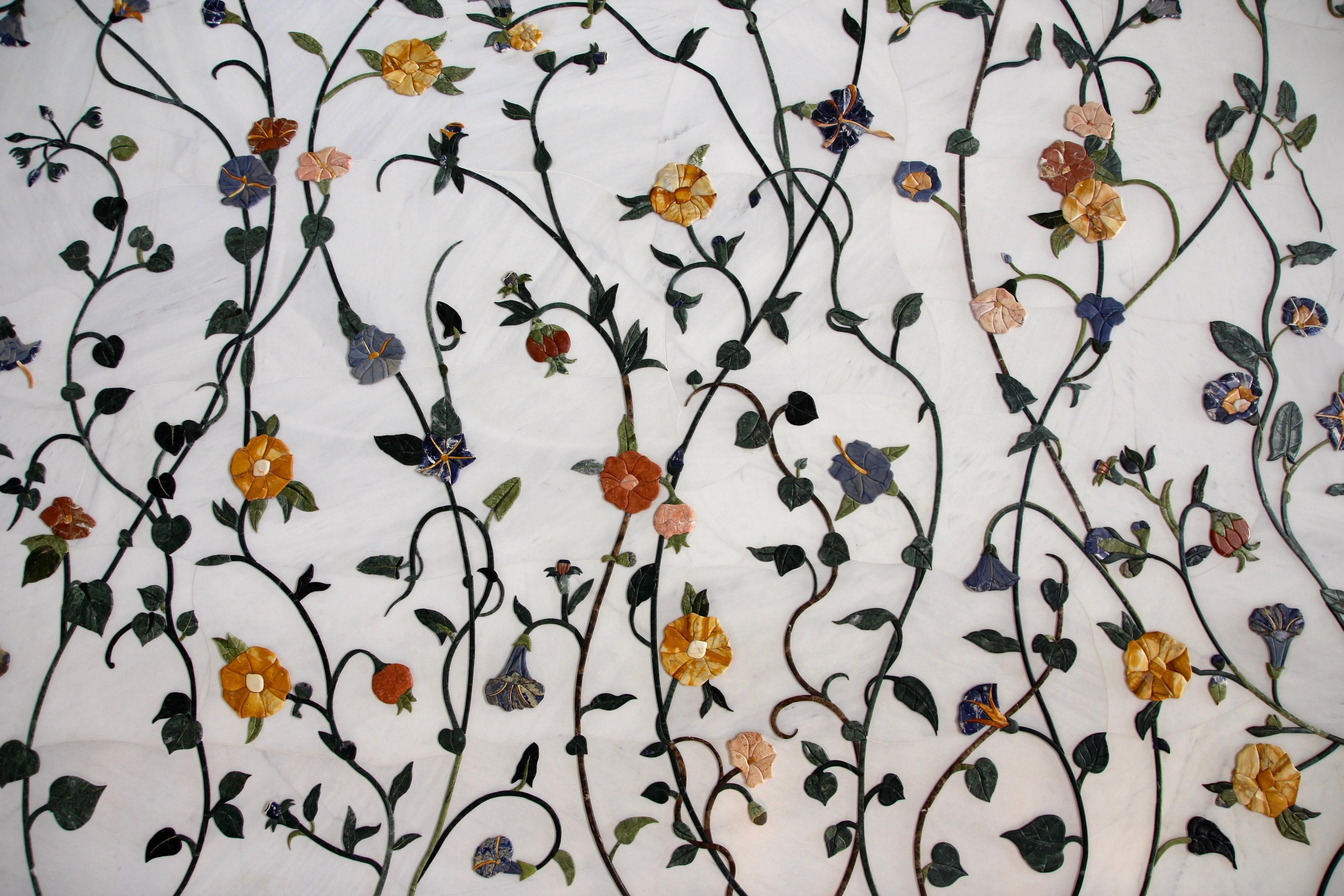 Branch Vine Leaf Flower Pattern Botany Decor Flora Textile Art Decorative Flooring