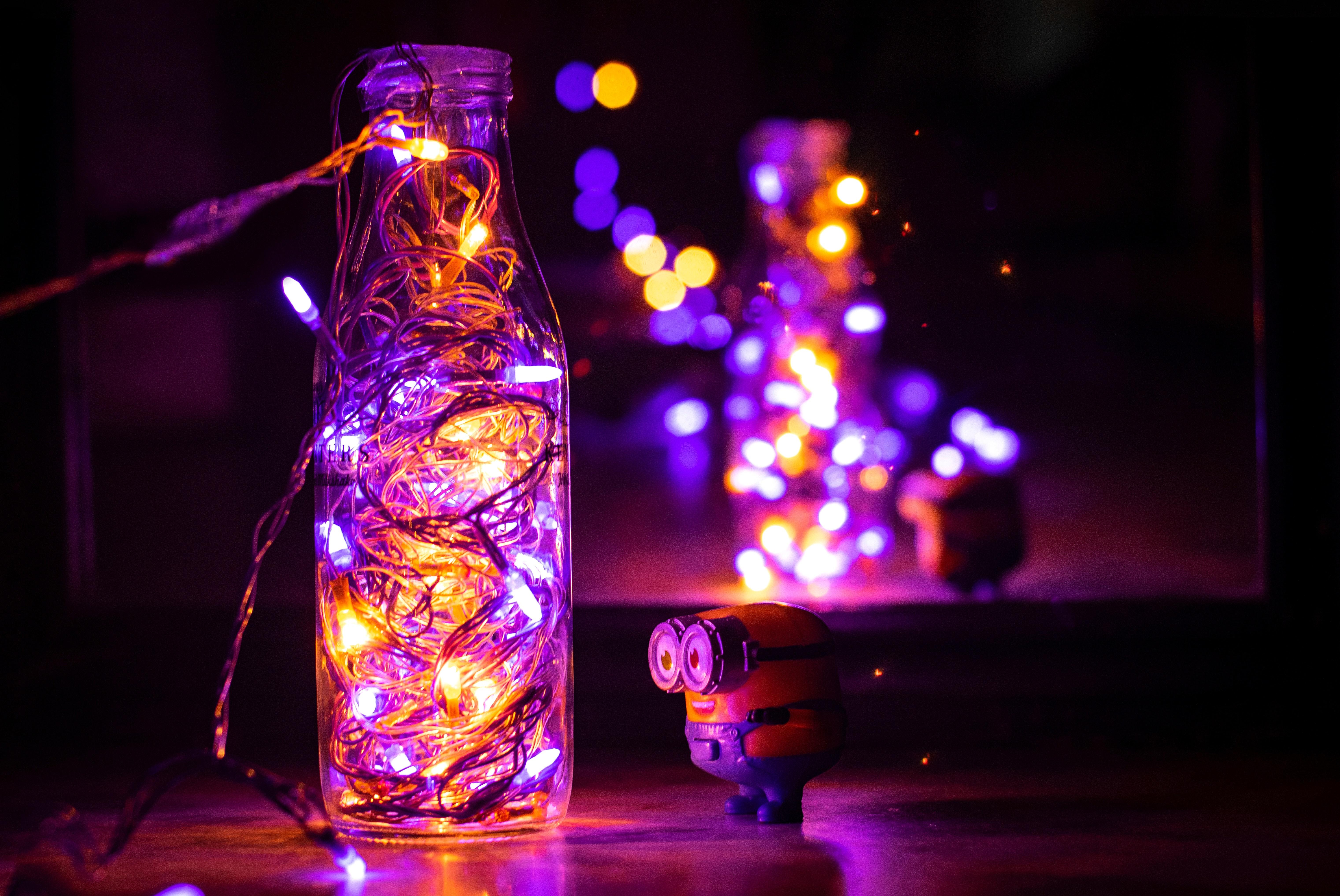 Bright Fairy Lights Illuminated Lights Macro Minion String Lights Toy Public Domain