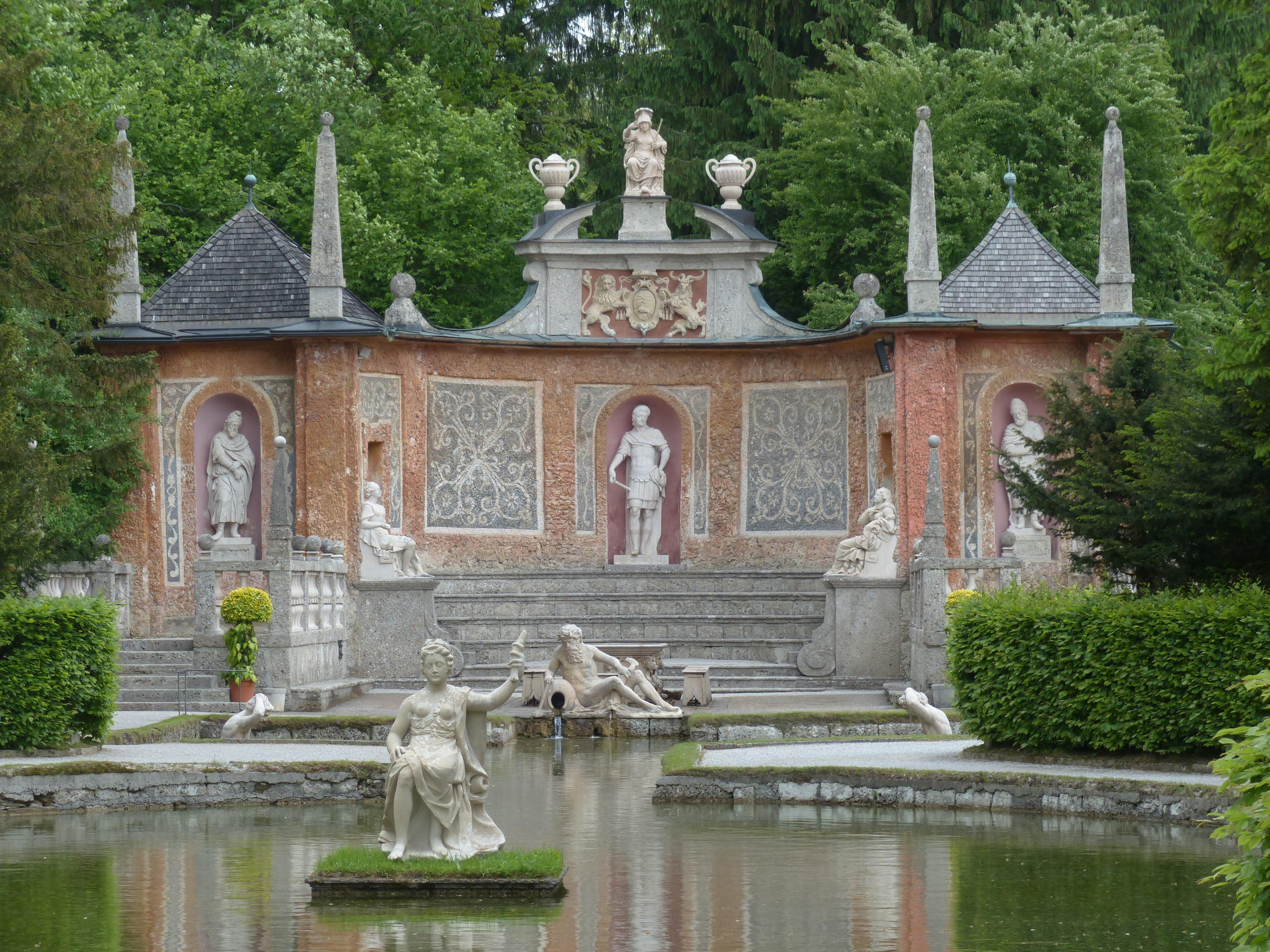 temple monastery shrine theater renaissance estate water feature salzburg water dispenser stone figures landscaped garden roman theatre - Water Garden Theater
