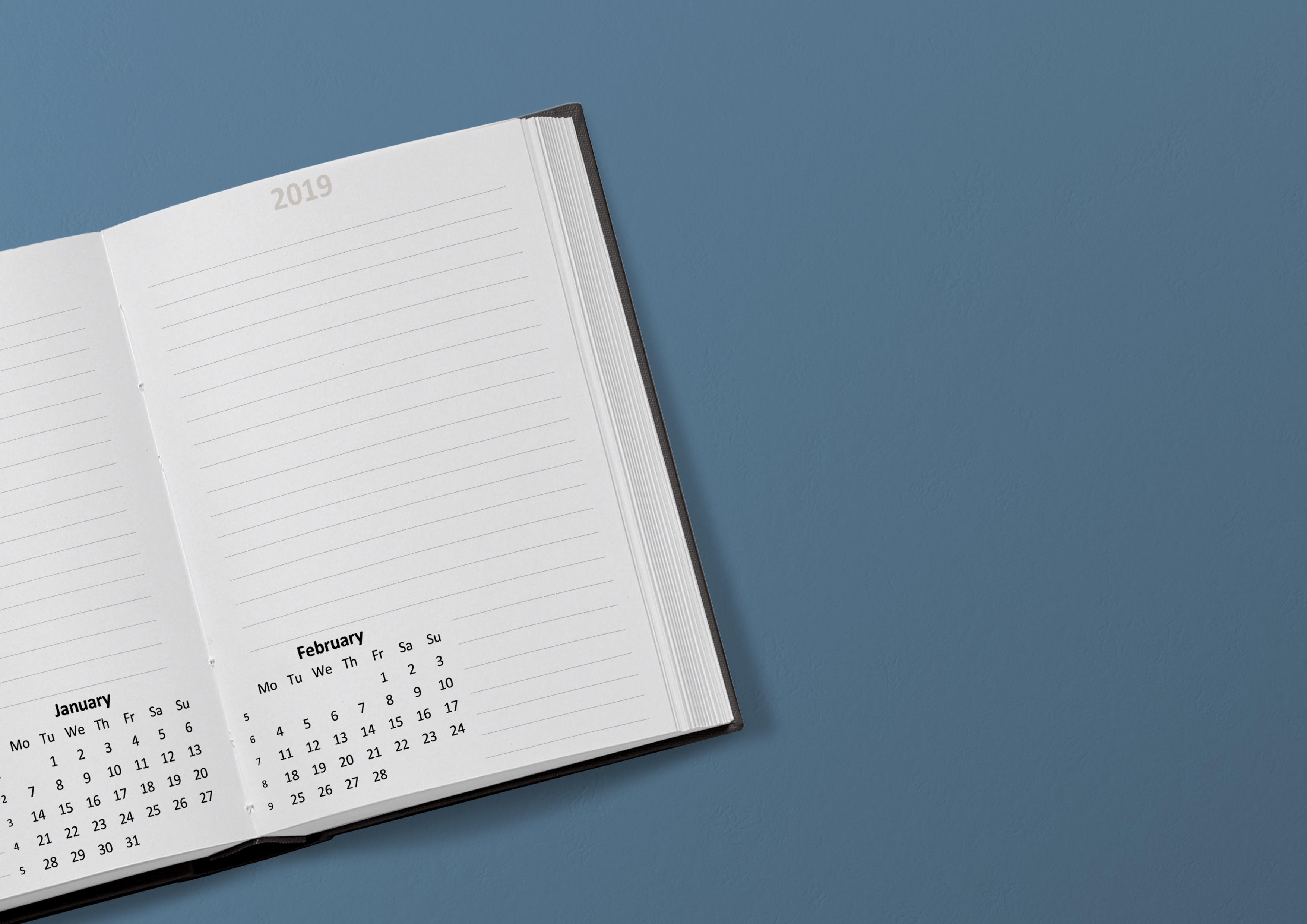 hình ảnh : lịch, 2019, ngày, tháng Giêng, Tháng hai, tuần, bàn, Chương trình nghị sự, Ghi chú, sổ tay, mở sách, giấy, Văn phòng, thông tin, kinh doanh, ...