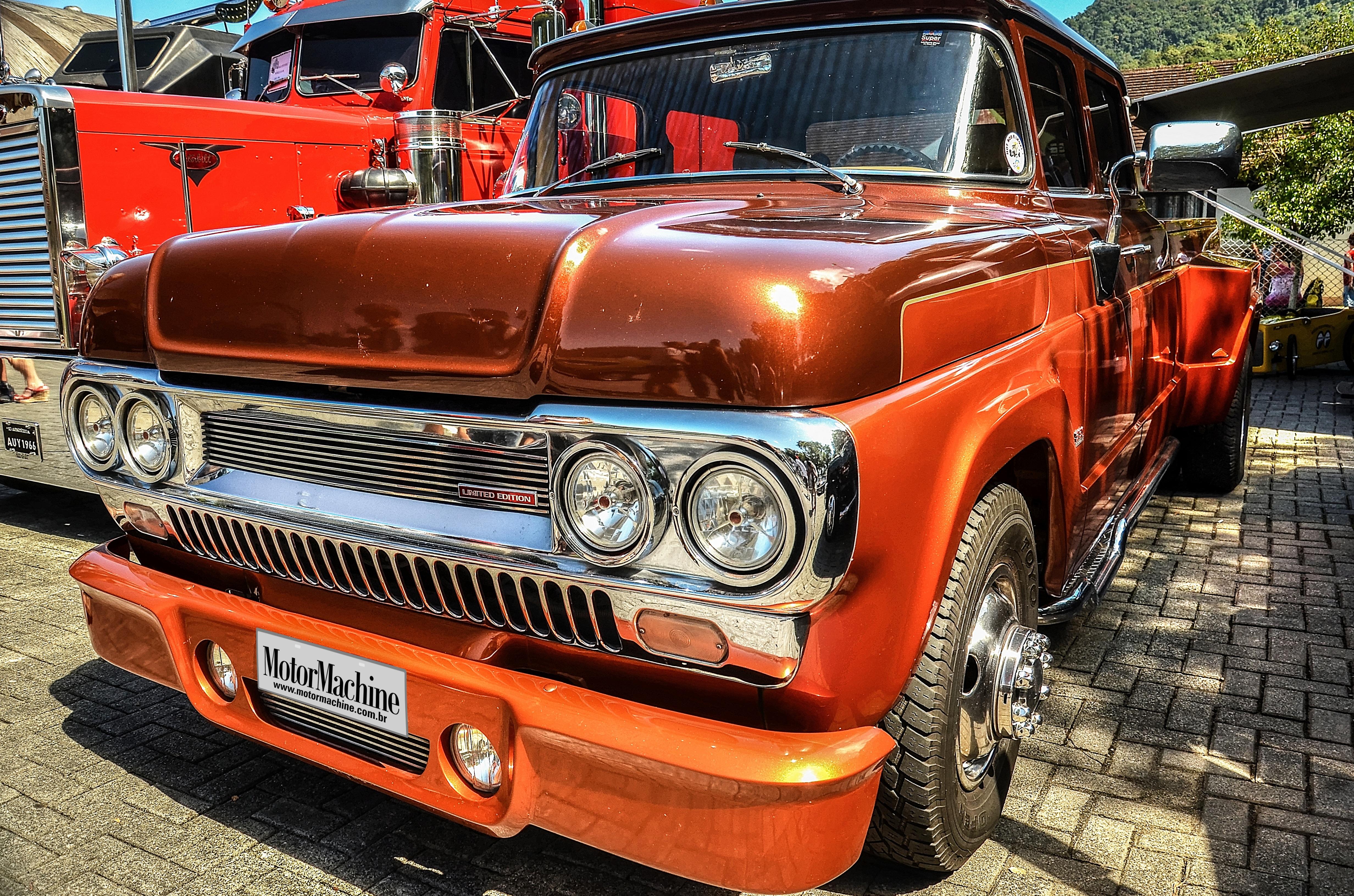 Free Images : old car, motor vehicle, bumper, chrome, orange color ...