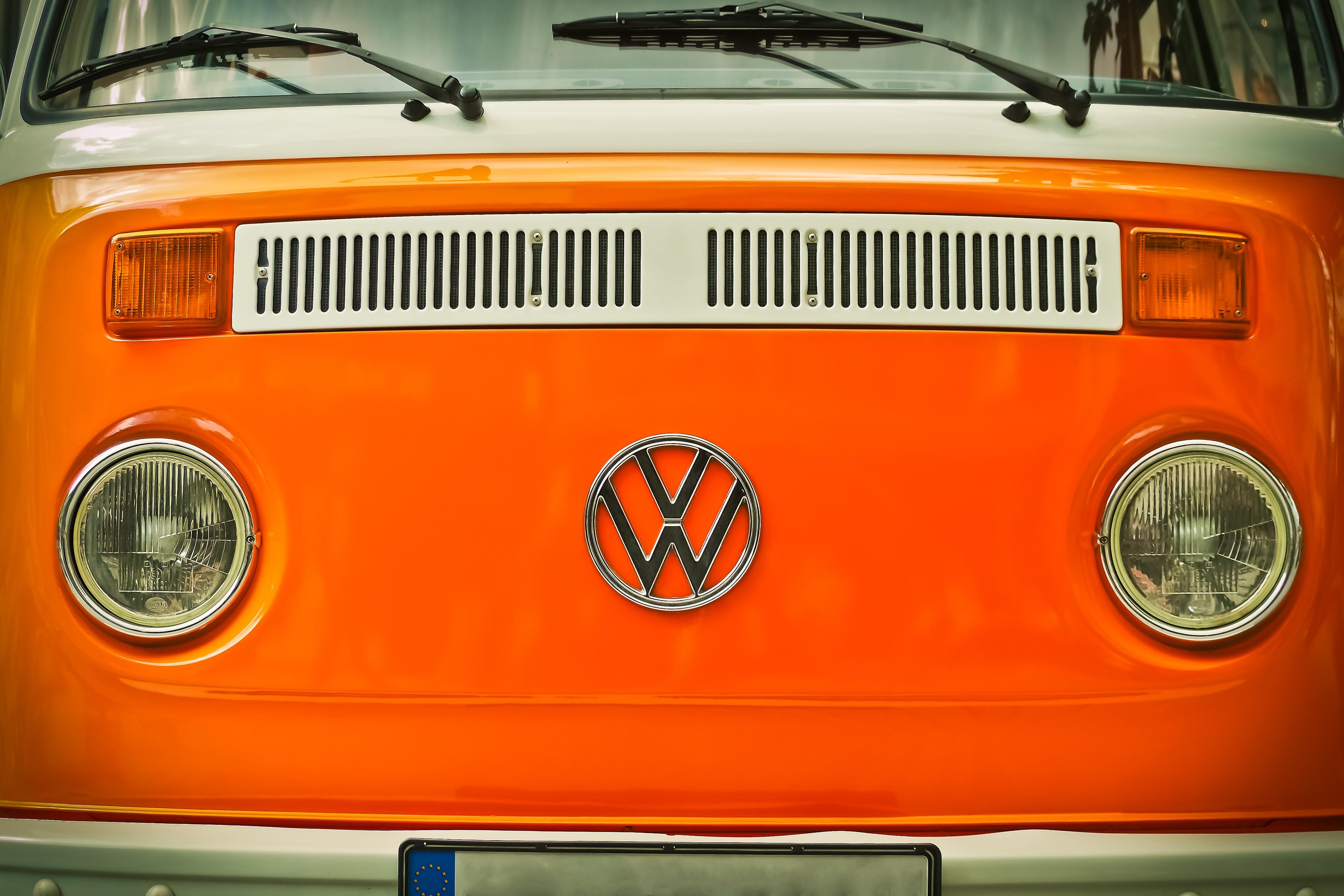 Free Images : vintage, retro, van, old, orange, auto, vw bus ...