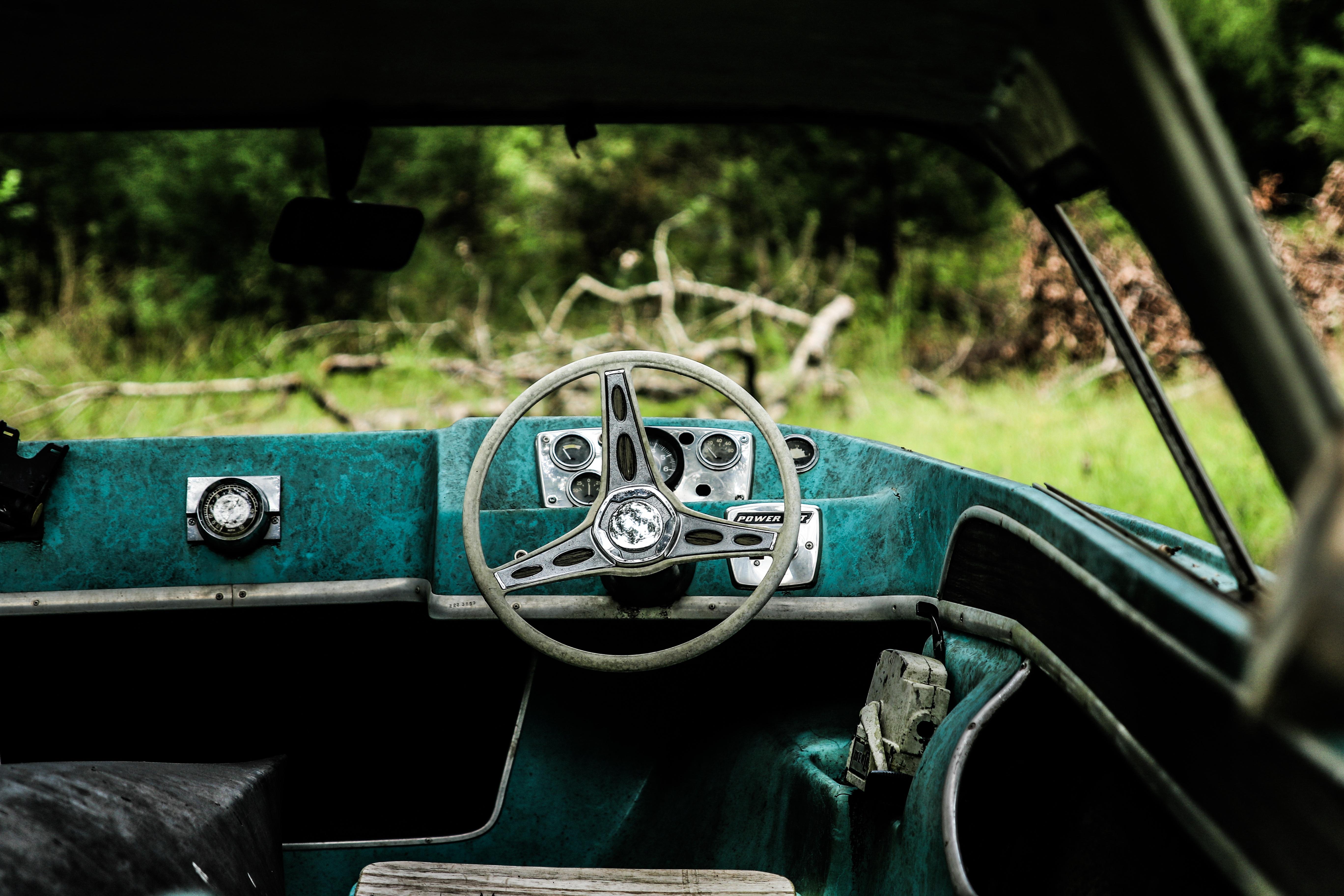 Free Images : transport, green, steering wheel, vintage car, retro ...