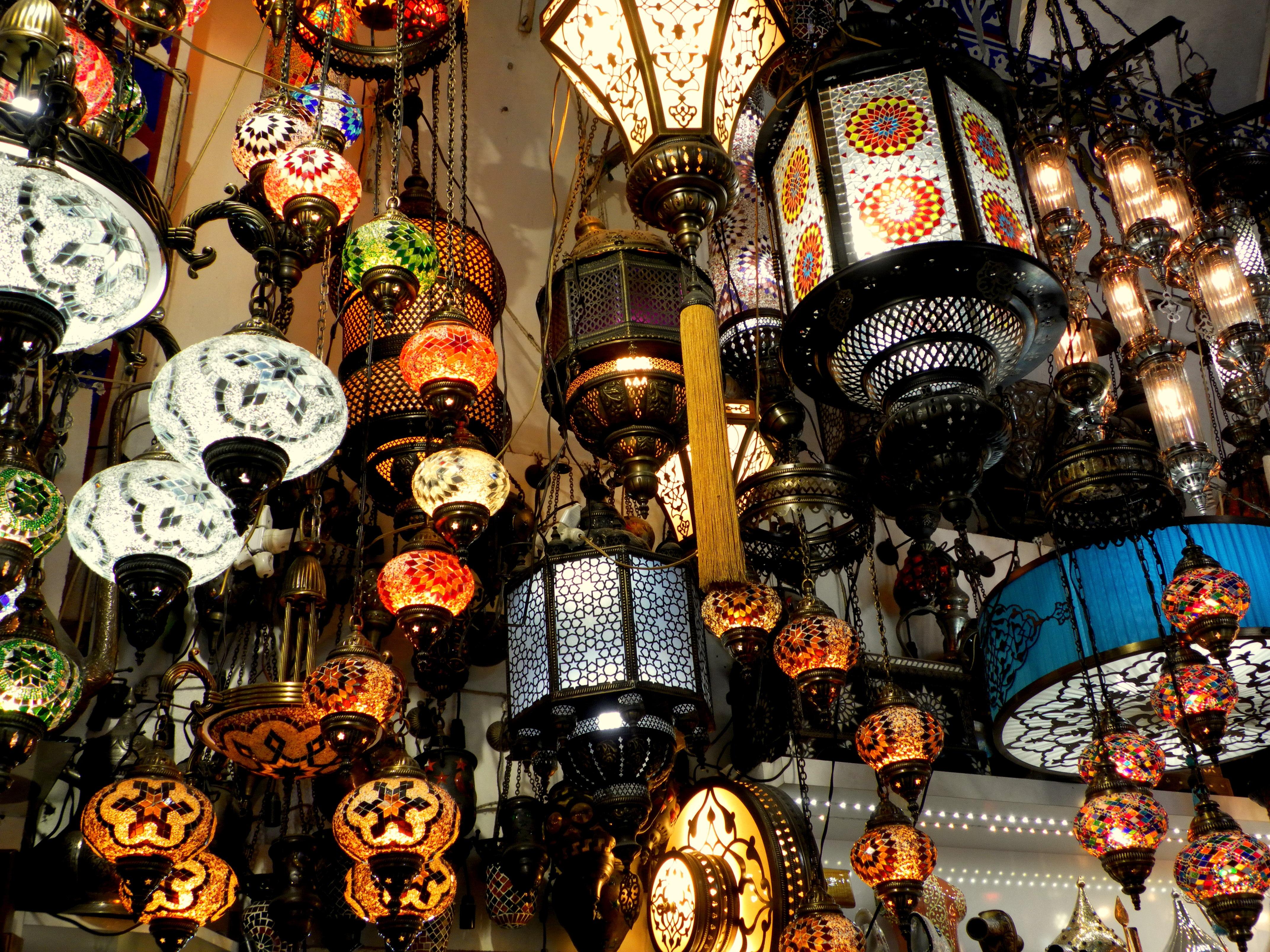 Karneval Basar Beleuchtung Farben Istanbul Handwerk Bazar Kronleuchter