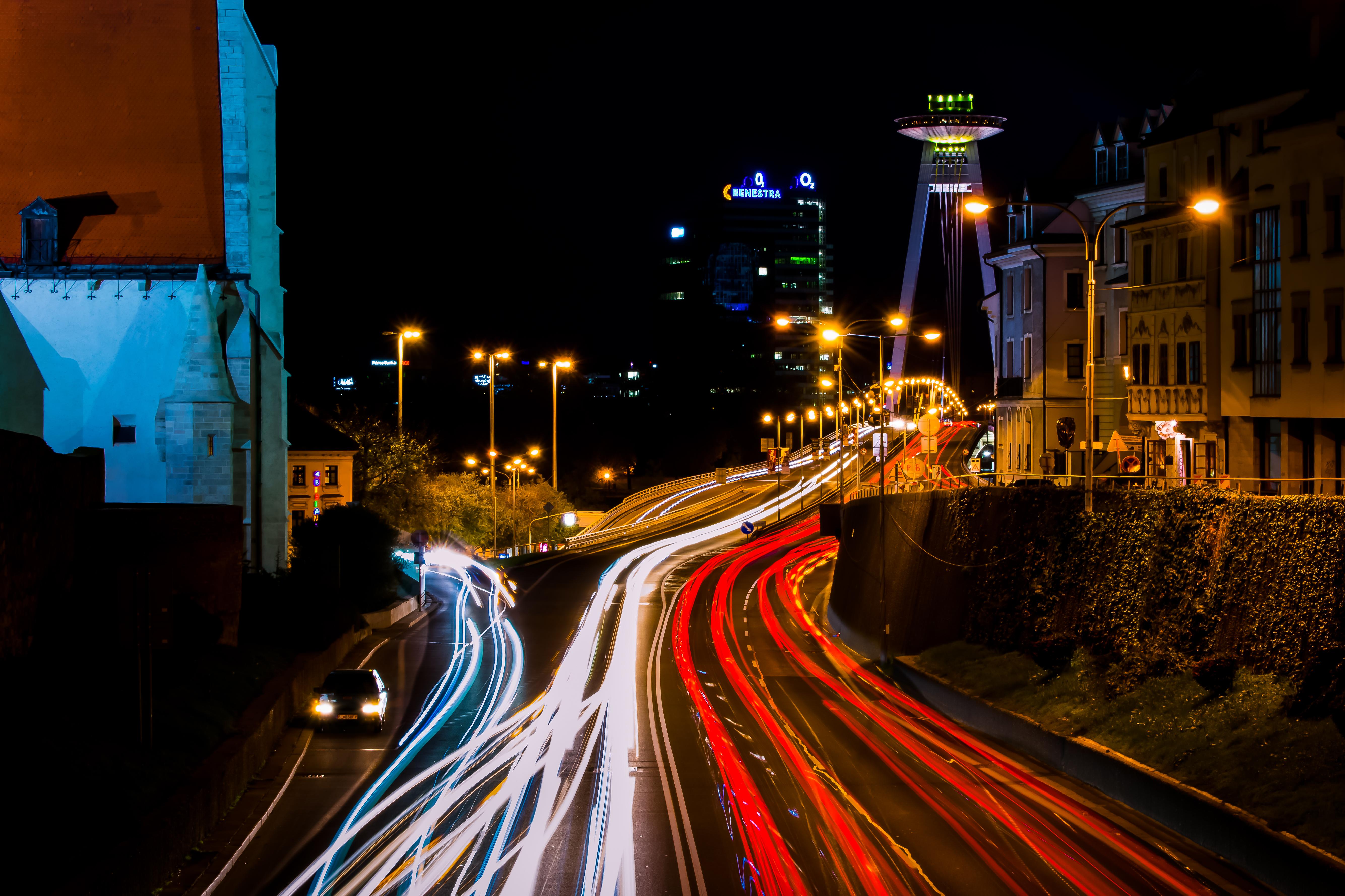 cars car lights long exposure photography red white night streaks lights bratislava city urban metropolitan area & Free Images : cars car lights long exposure photography red ...