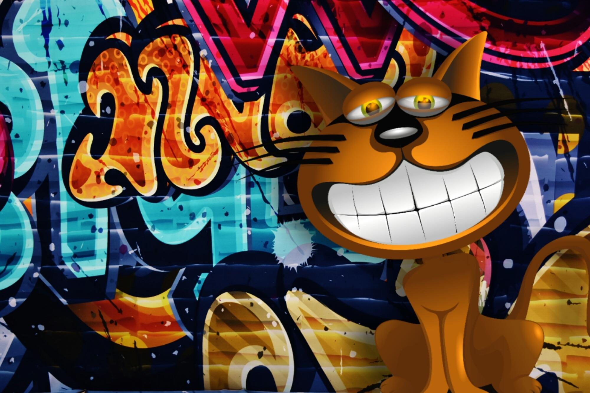 Gambar Kucing Warna Warni Coretan Seni Ilustrasi Lucu
