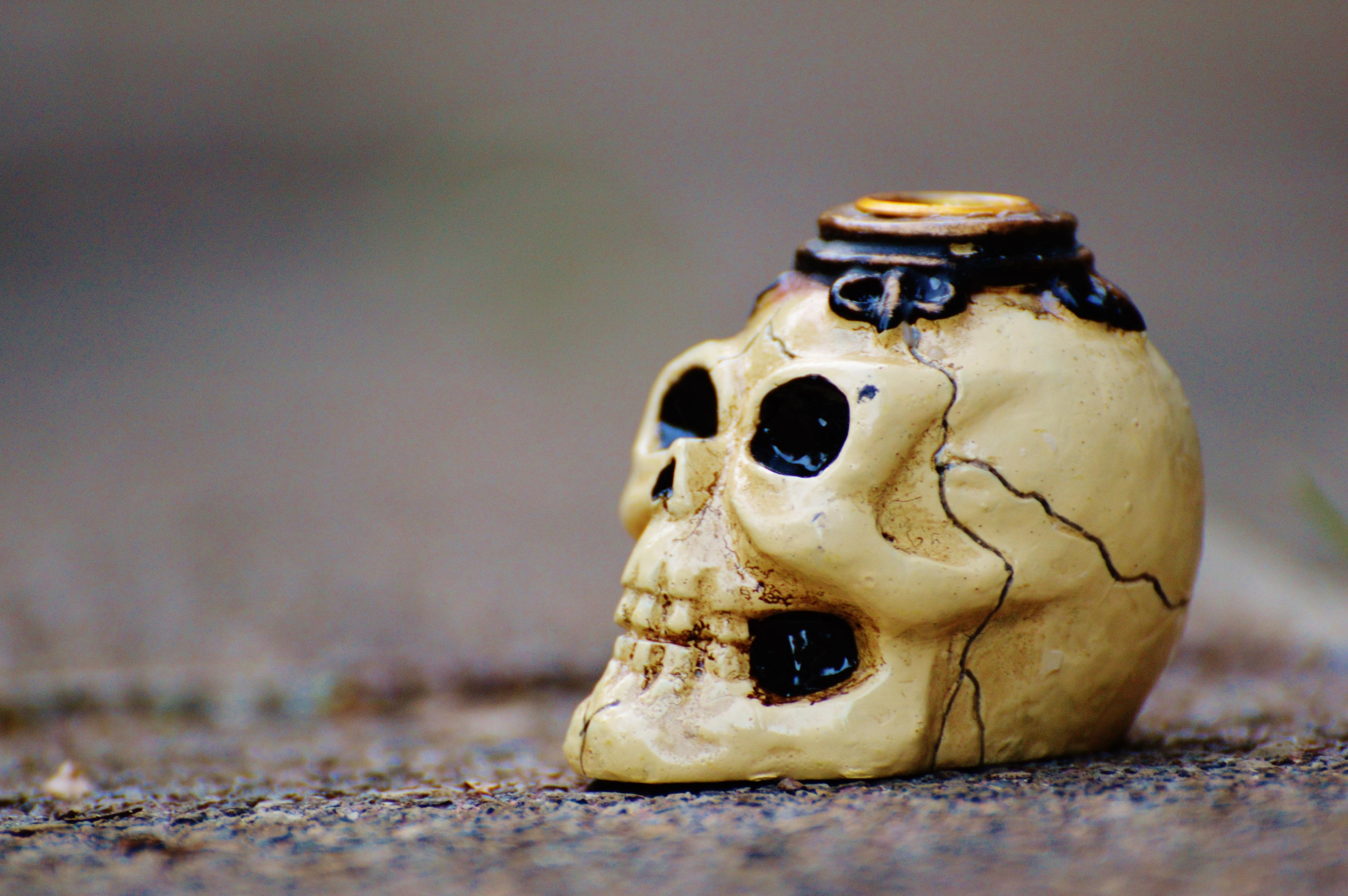 Kostenlose foto : Keramik, Halloween, Tod, Schädel, Material ...