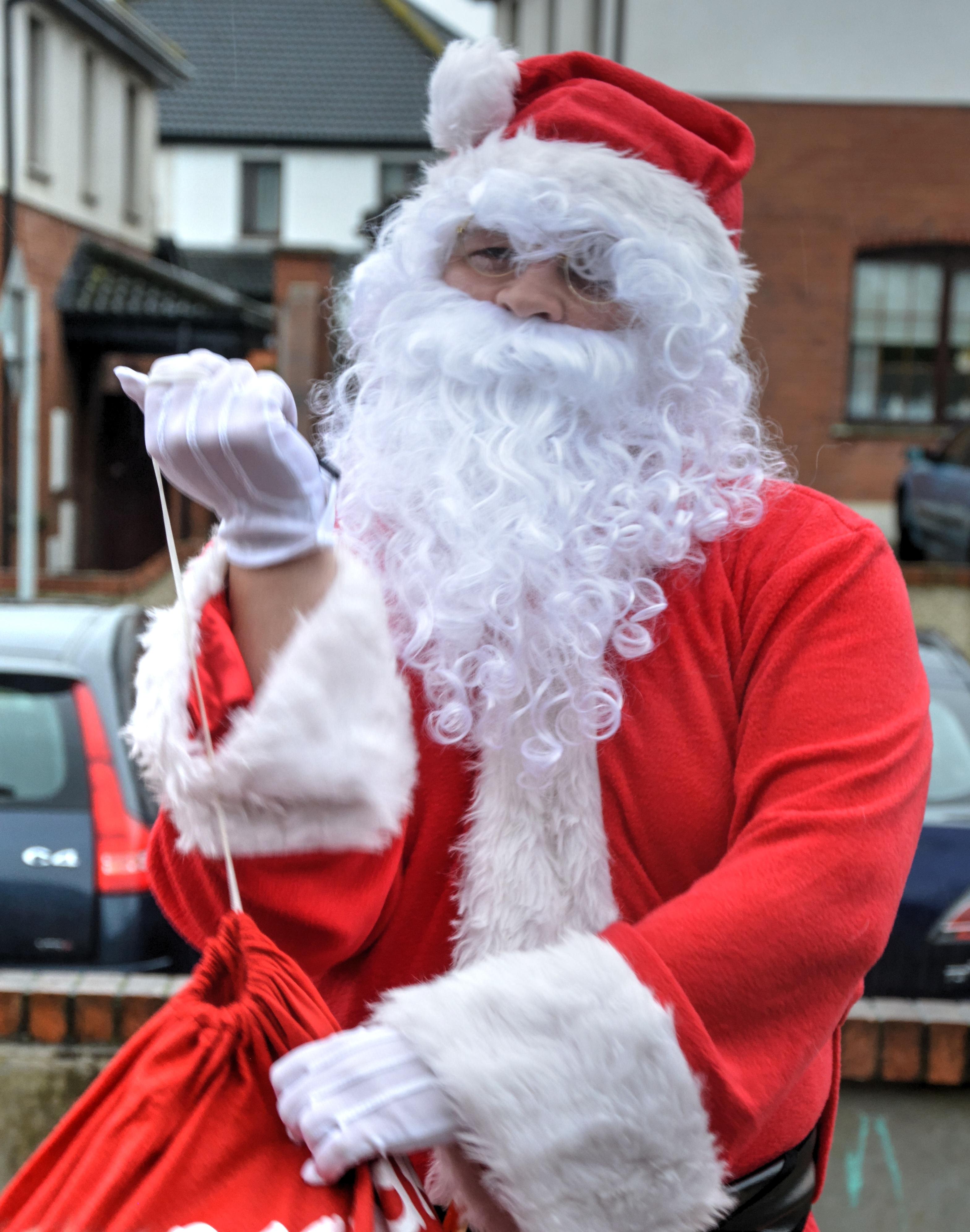 christmas red jacket santa claus presents santa clause white beard fictional character - Santa Claus Presents