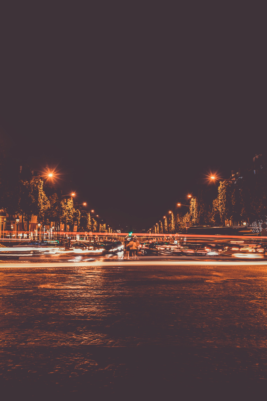 Gambar Lampu Lampu Kota Pemandangan Kota Gelap Diterangi