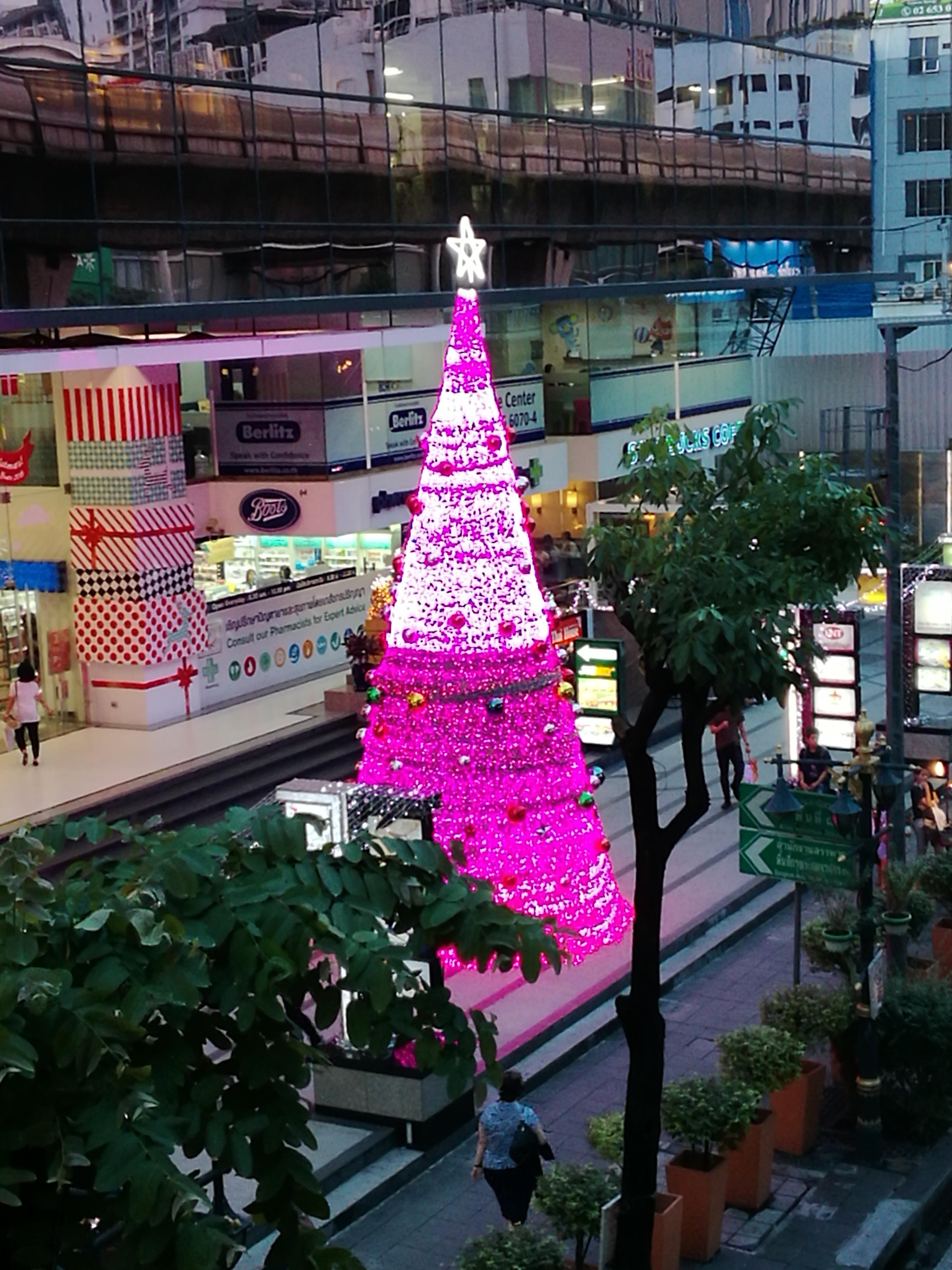 Pink Christmas Lights.Free Images City Christmas Tree Pink Christmas
