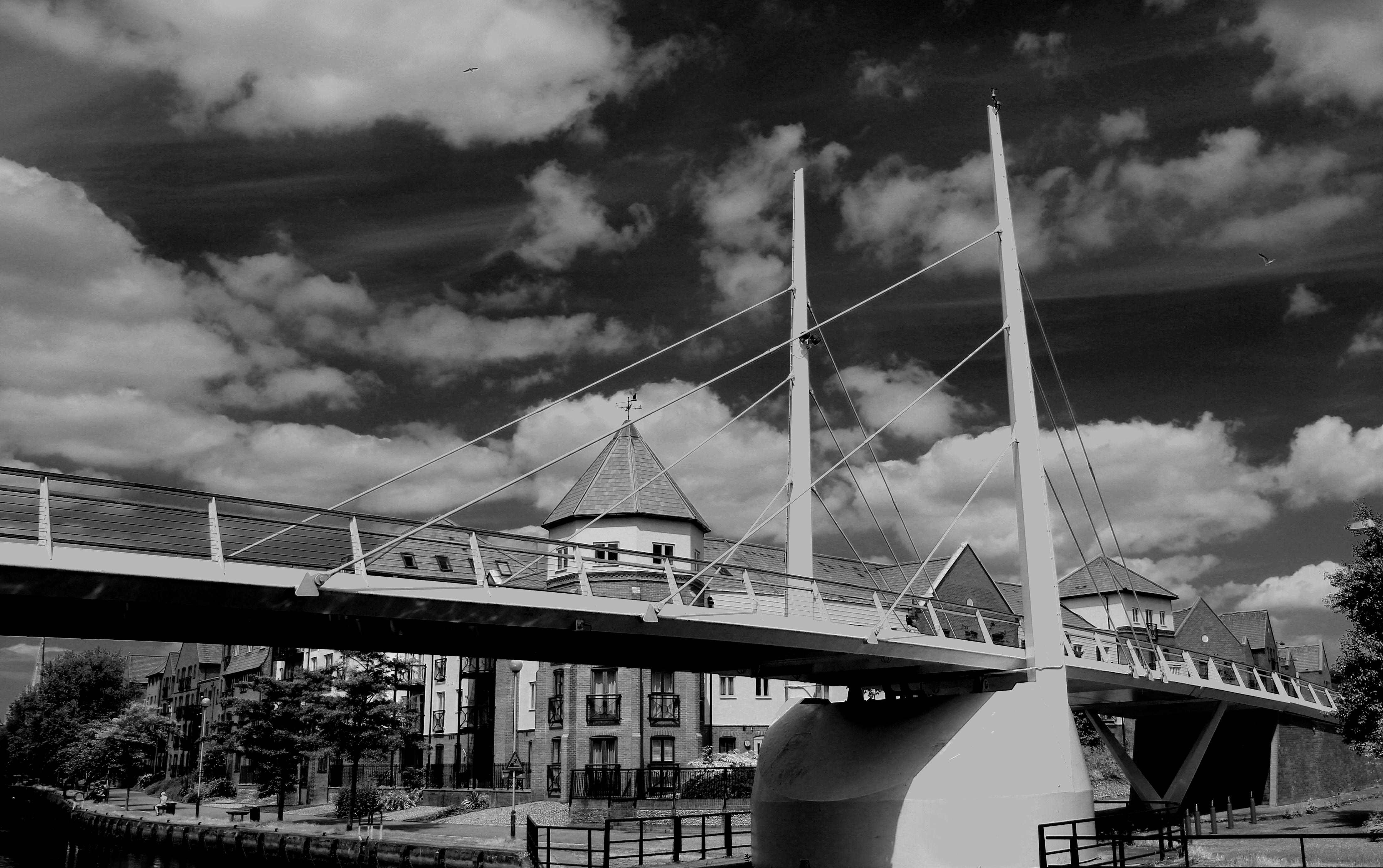 Cloud black and white sky white bridge photography river cityscape reflection friendship black monochrome england sad