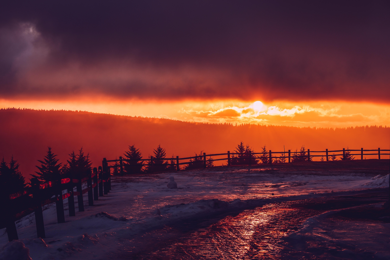 Free Images Clouds Dusk Evening Fence Golden Hour
