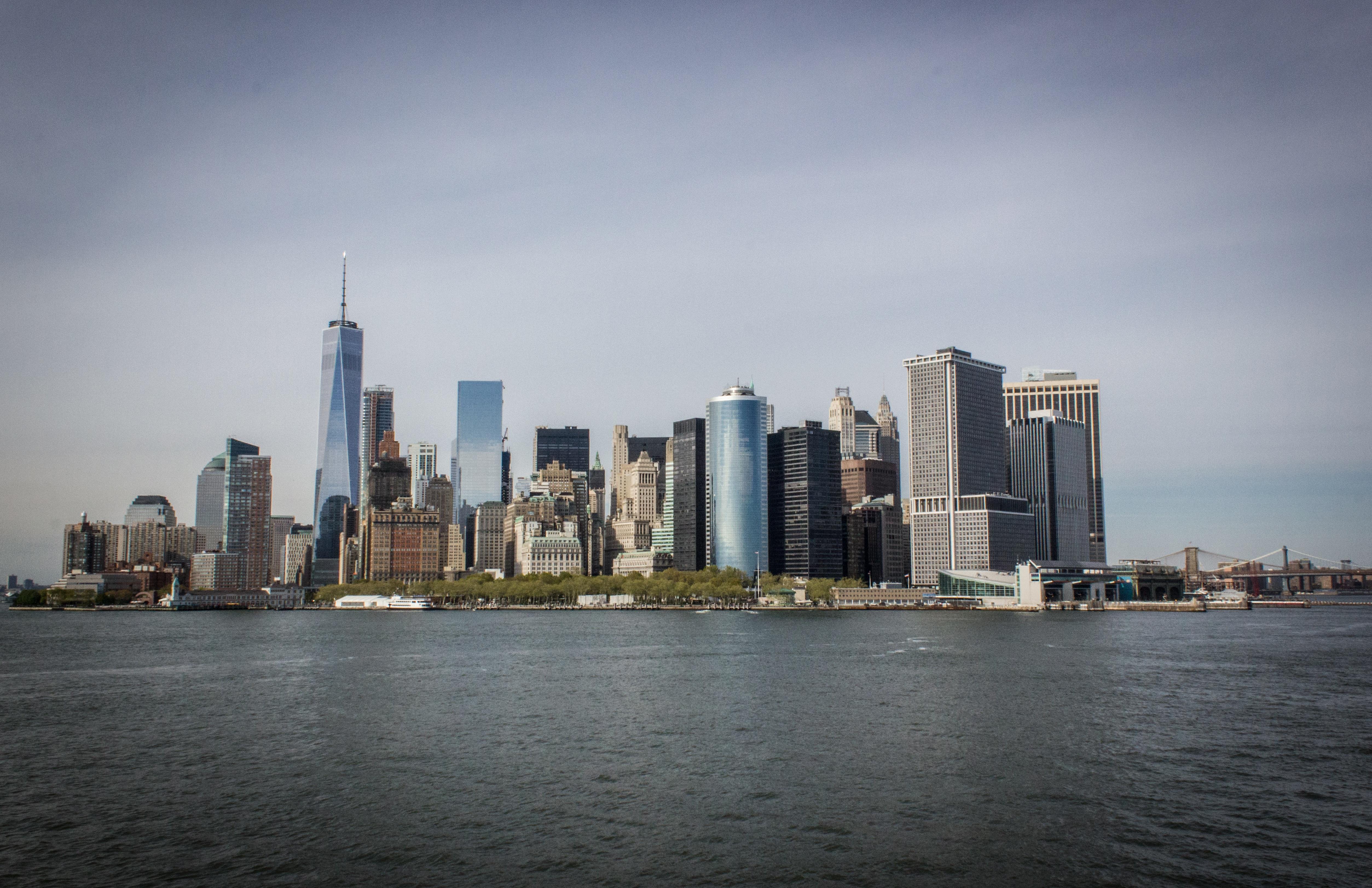 costa horizonte horizonte ciudad rascacielos nueva york manhattan paisaje urbano panorama centro de la ciudad oscuridad