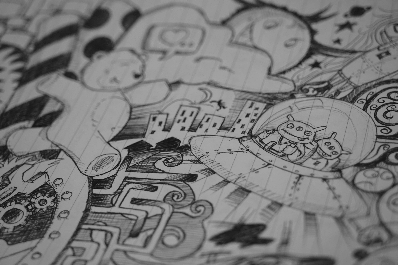 Creative black and white pattern monochrome leisure circle font art sketch drawing creativity illustration design inspiration