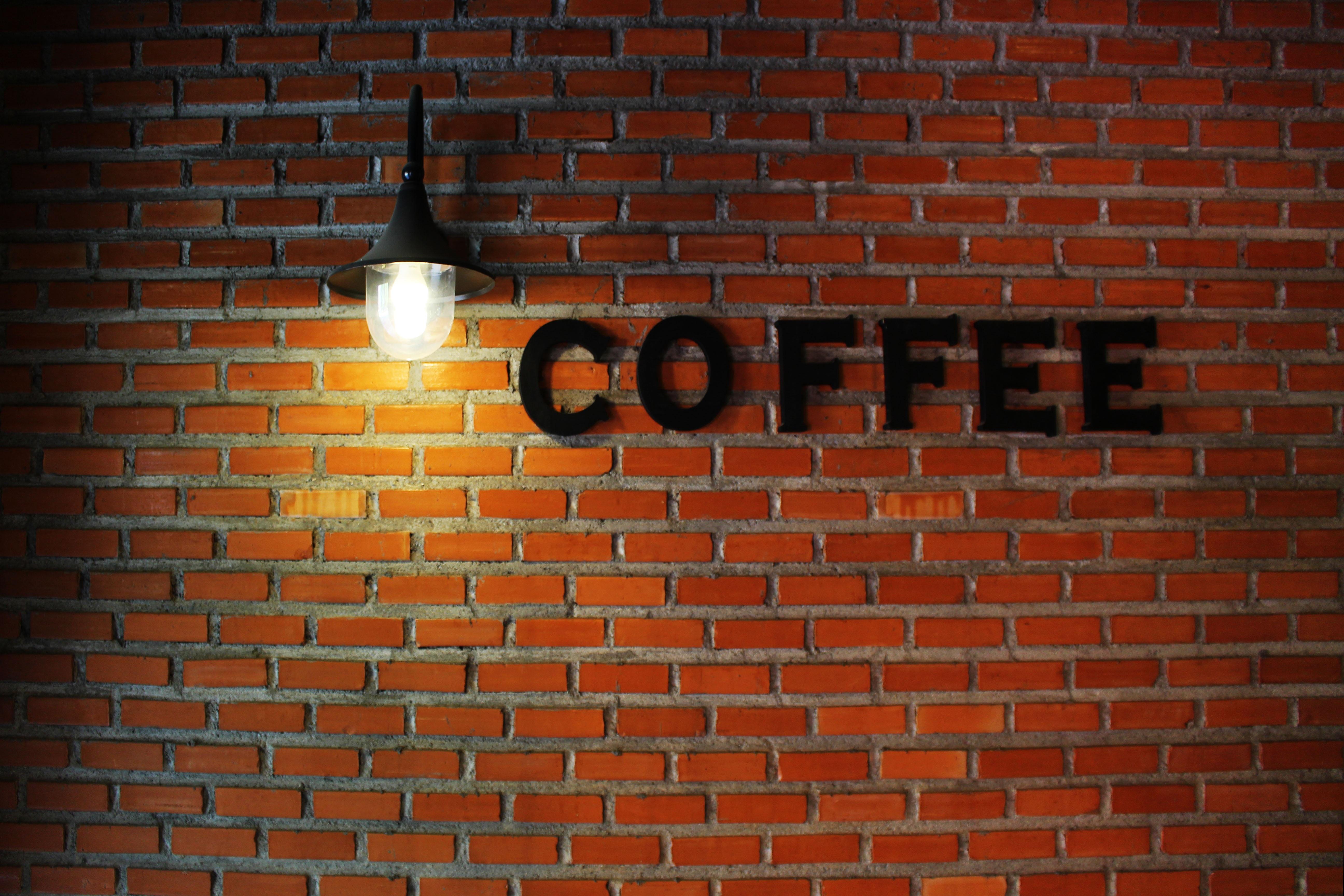 Gambar Kreatif Kafe Kopi Dinding Tanda Pola Merah