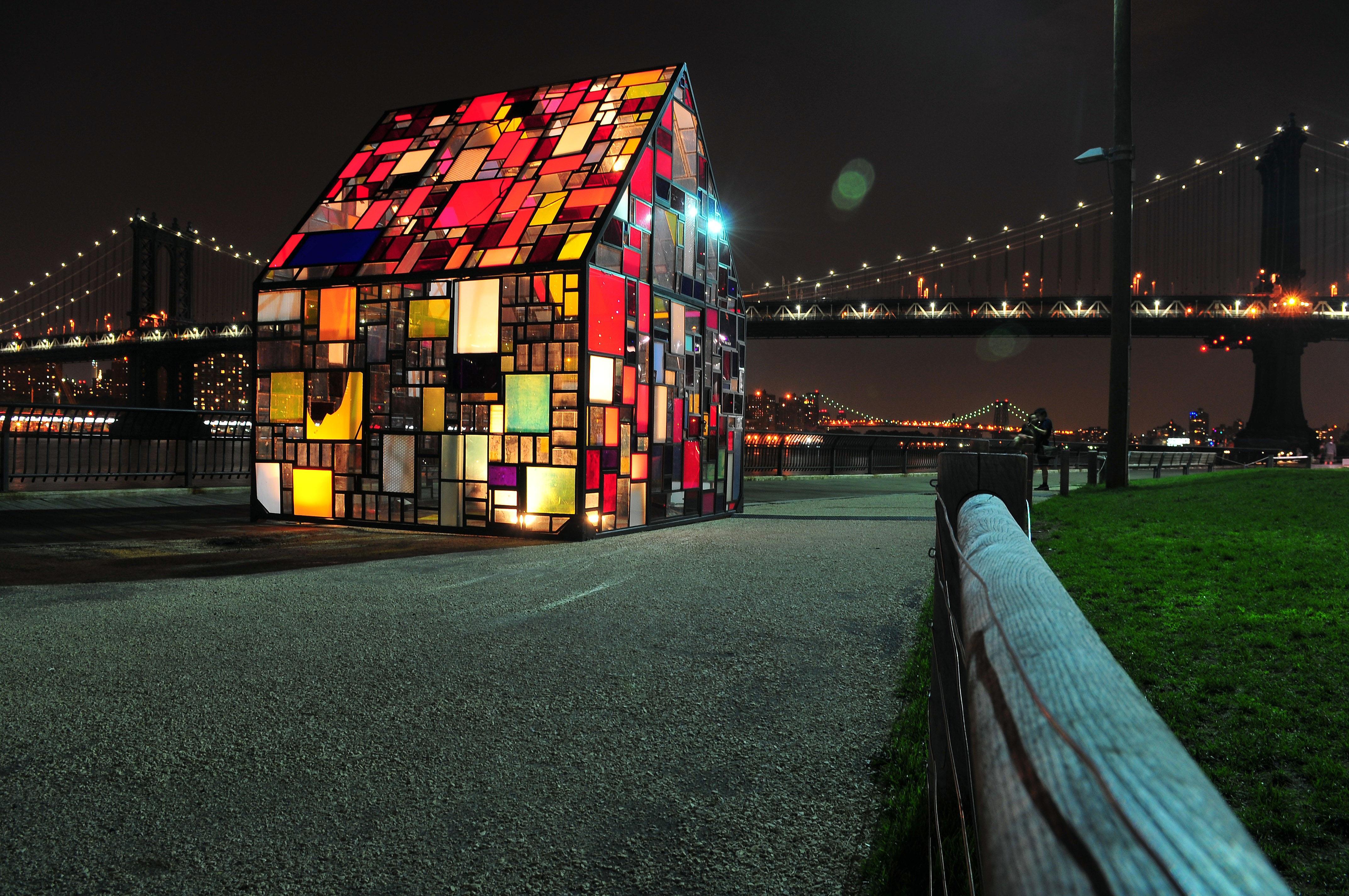 Creative Light Architecture Bridge Night House Glass Building New York  Manhattan Cityscape Evening Symbol Color Colorful