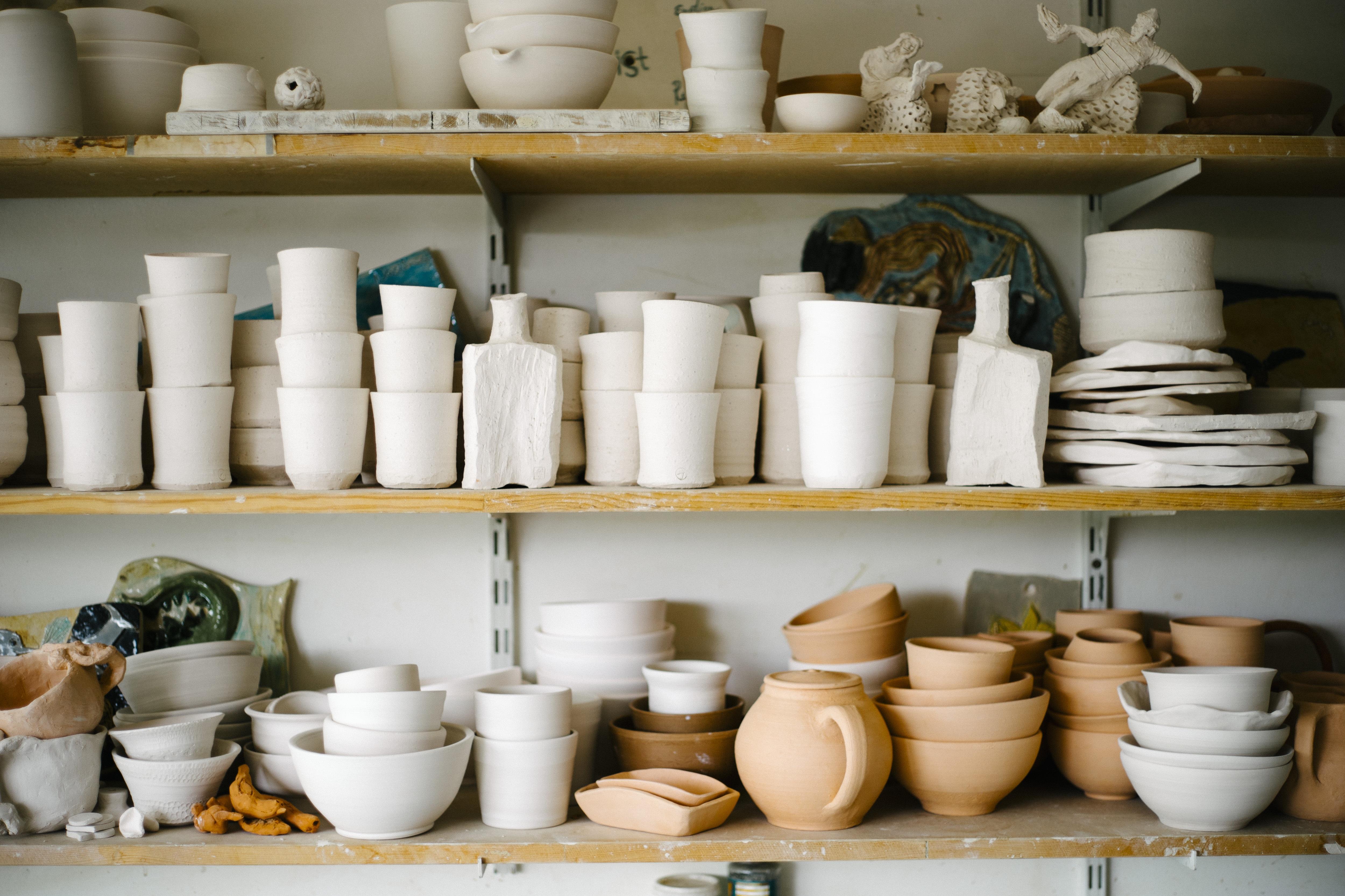 Free Images Creative White Ceramic Shelf Craft Room