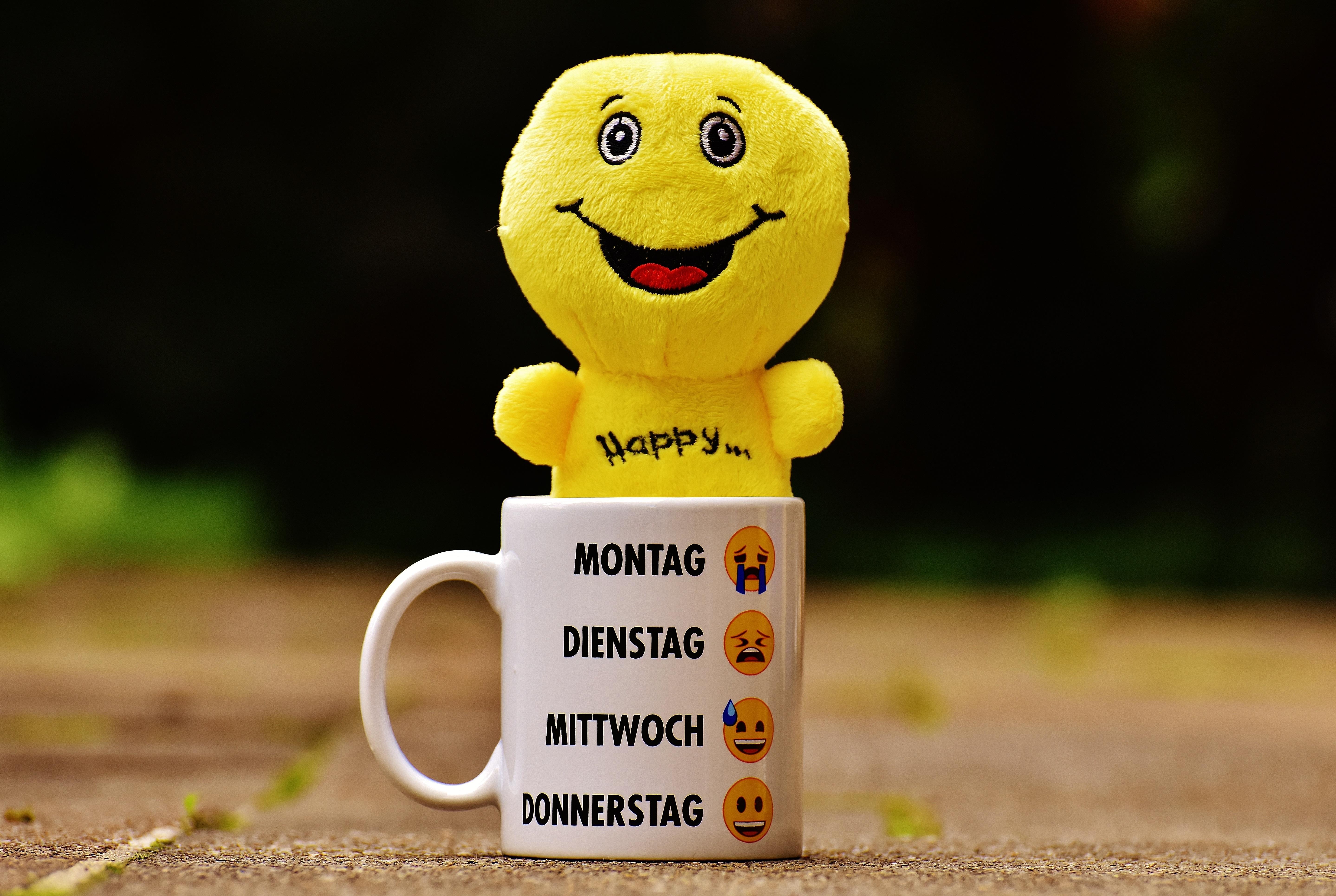 Gambar Cangkir Makanan Warna Kuning Mainan Tersenyum