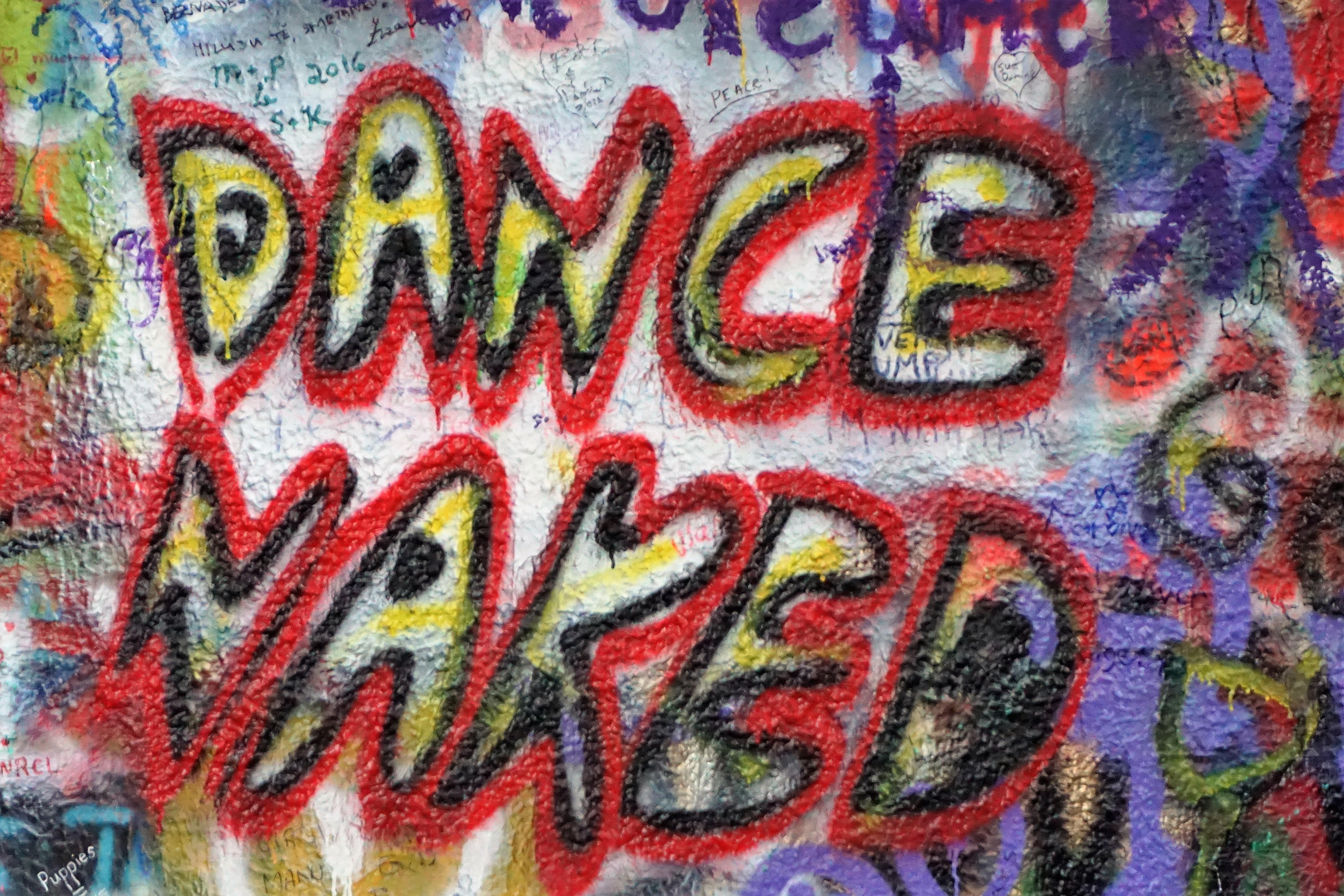 Dance prague graffiti font art naked grafitti john lennon wall