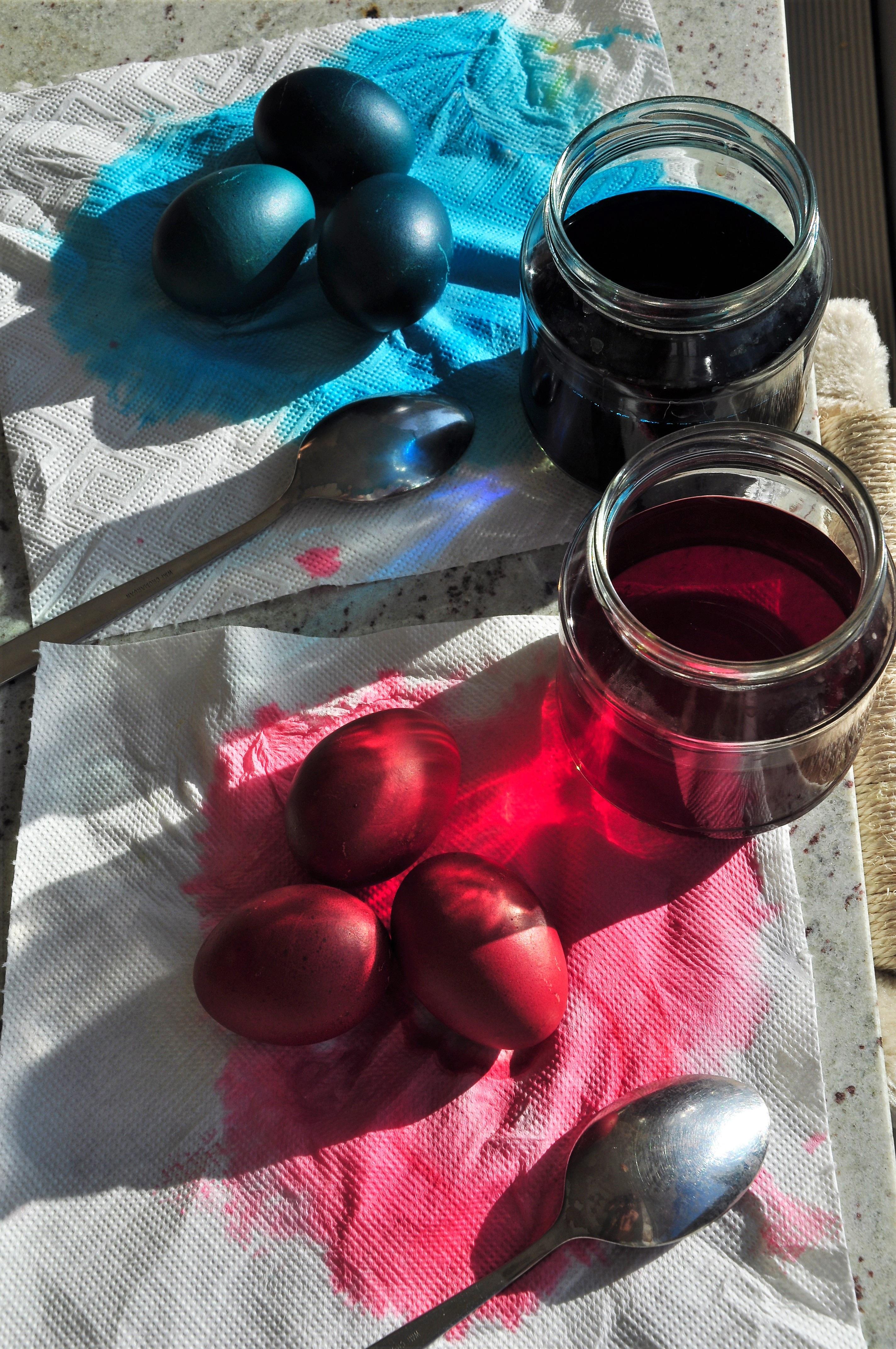Fotograf Dekorasyon Bahar Kirmizi Renk Mavi Renkli Yumurta