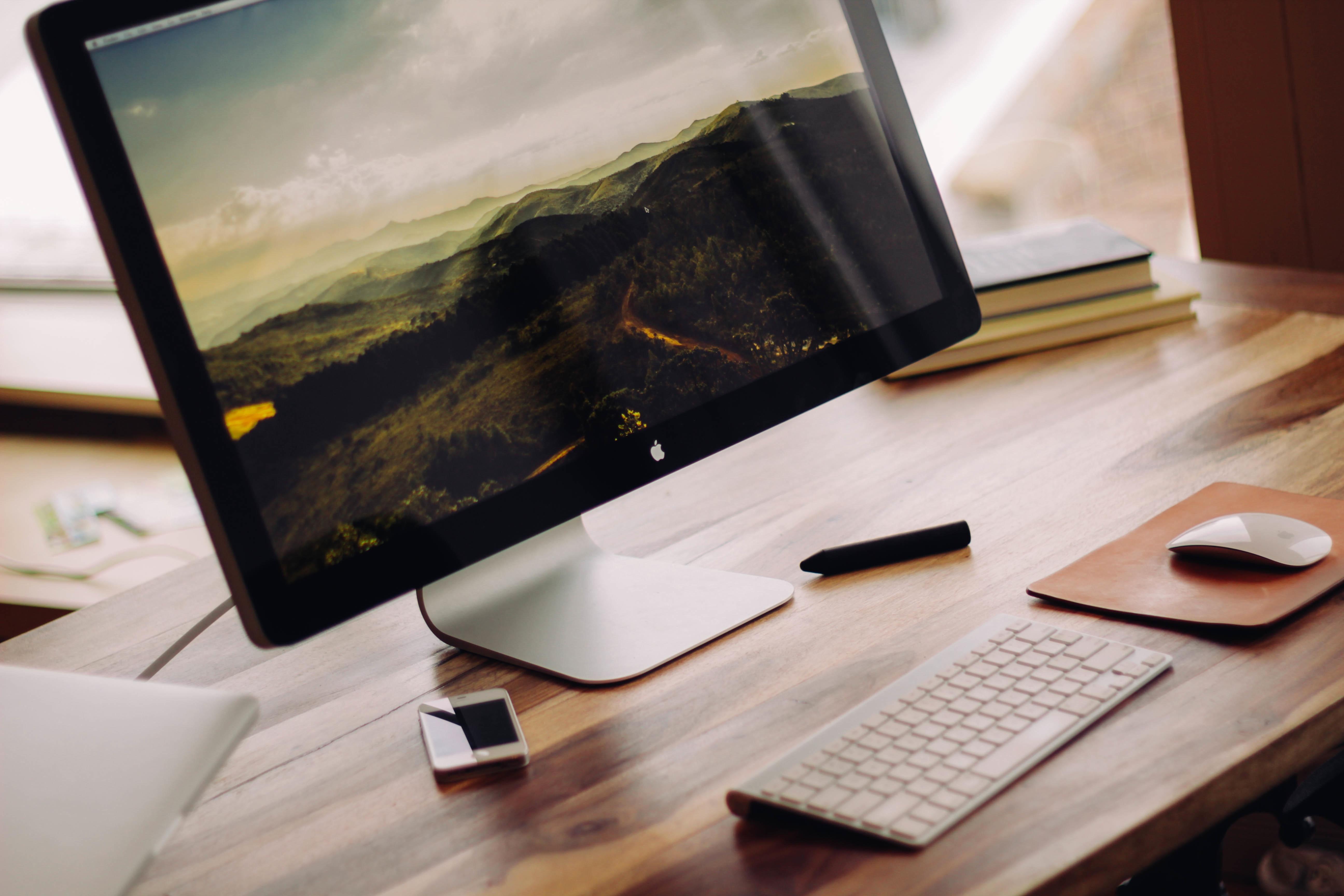 Desk Computer Writing Table Workspace Desktop Gadget Monitor Brand Design