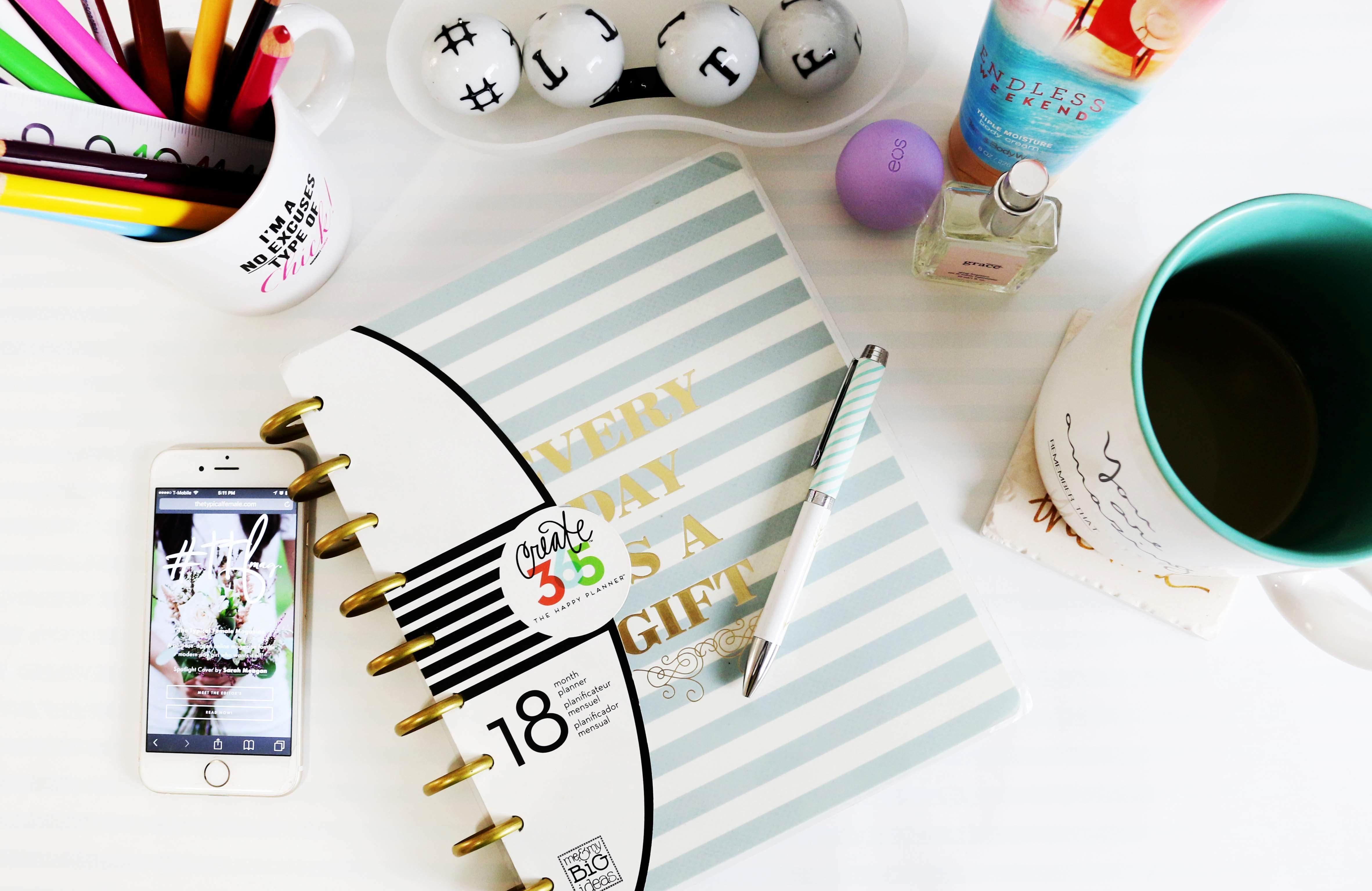 Desk Diary Blogging Feminine Planner Brand Art Design Graphic