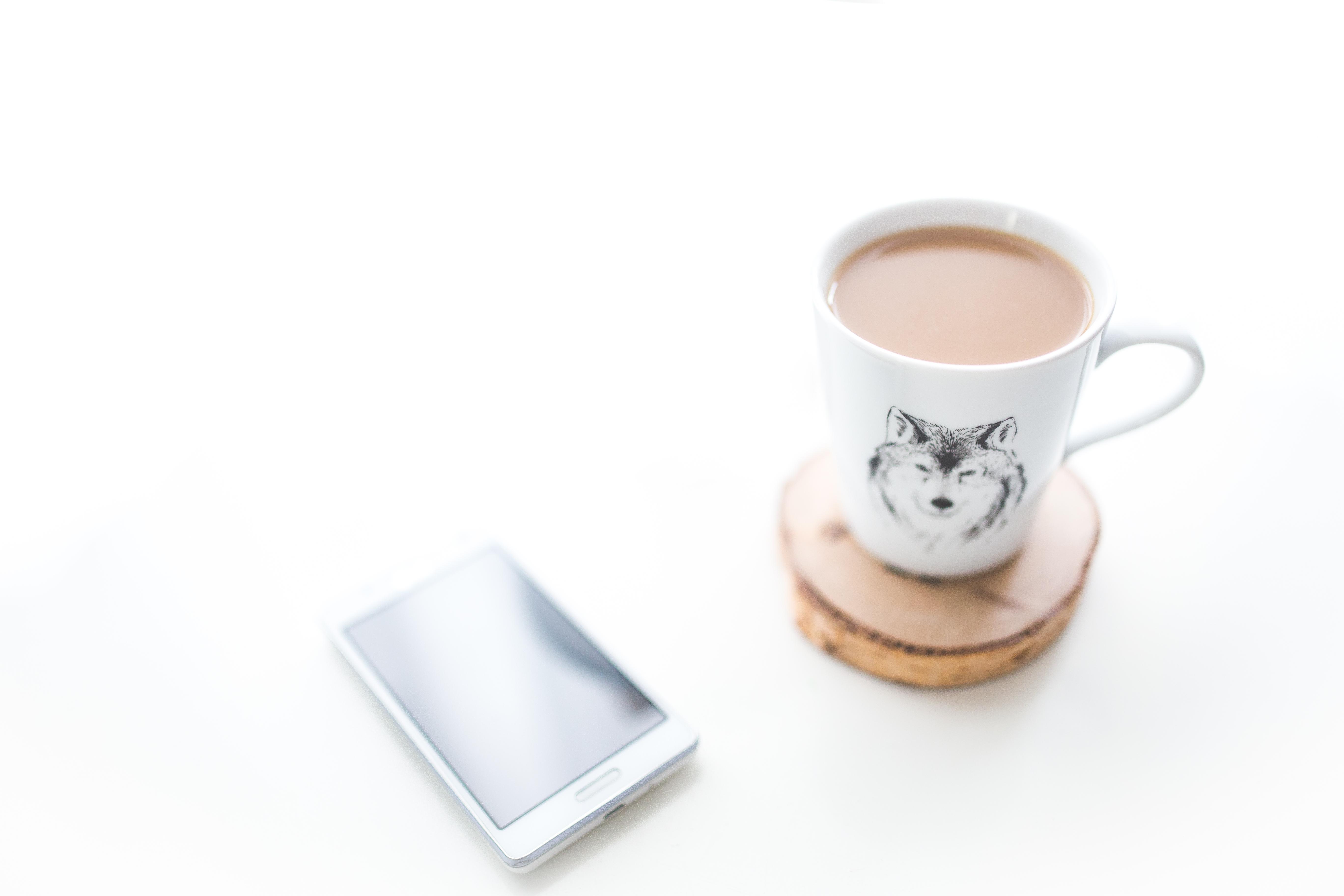 Desk Smartphone Mobile Hand Coffee White Morning Cup Phone Drink Espresso Mug Device Caffeine