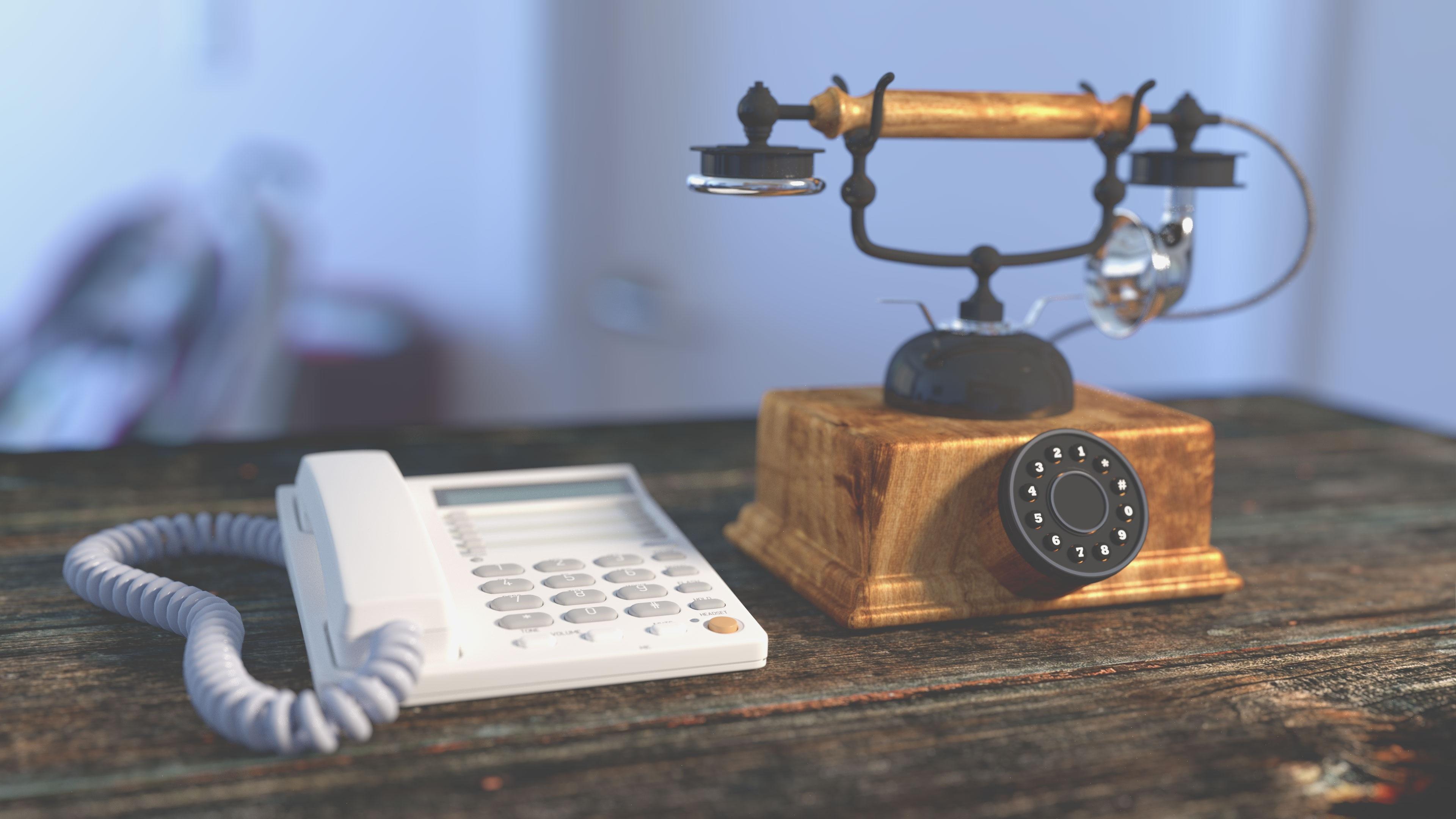 Desk Table Vintage Antique Telephone Communication Lighting