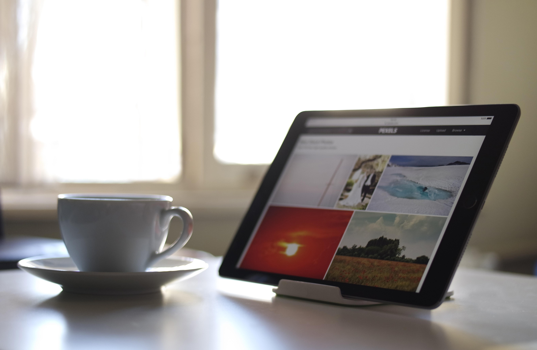 Desk Work Screen Ipad Technology Window Cup Tablet Workspace Saucer Office Gadget Mug Coffee Teacup