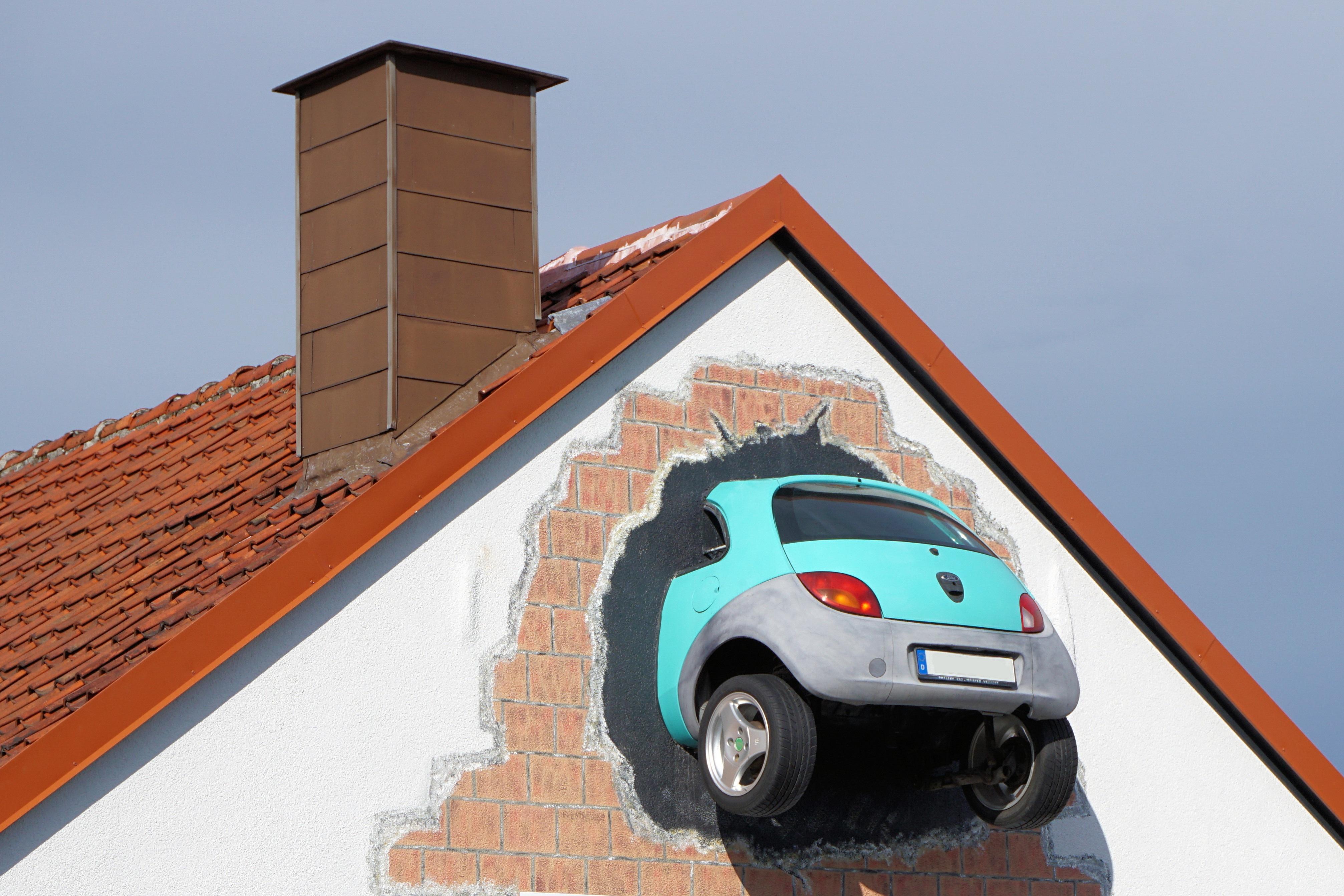 Kostenlose foto : Fahren, Mauer, Fahrzeug, Auto, Kunst, Unfall ...
