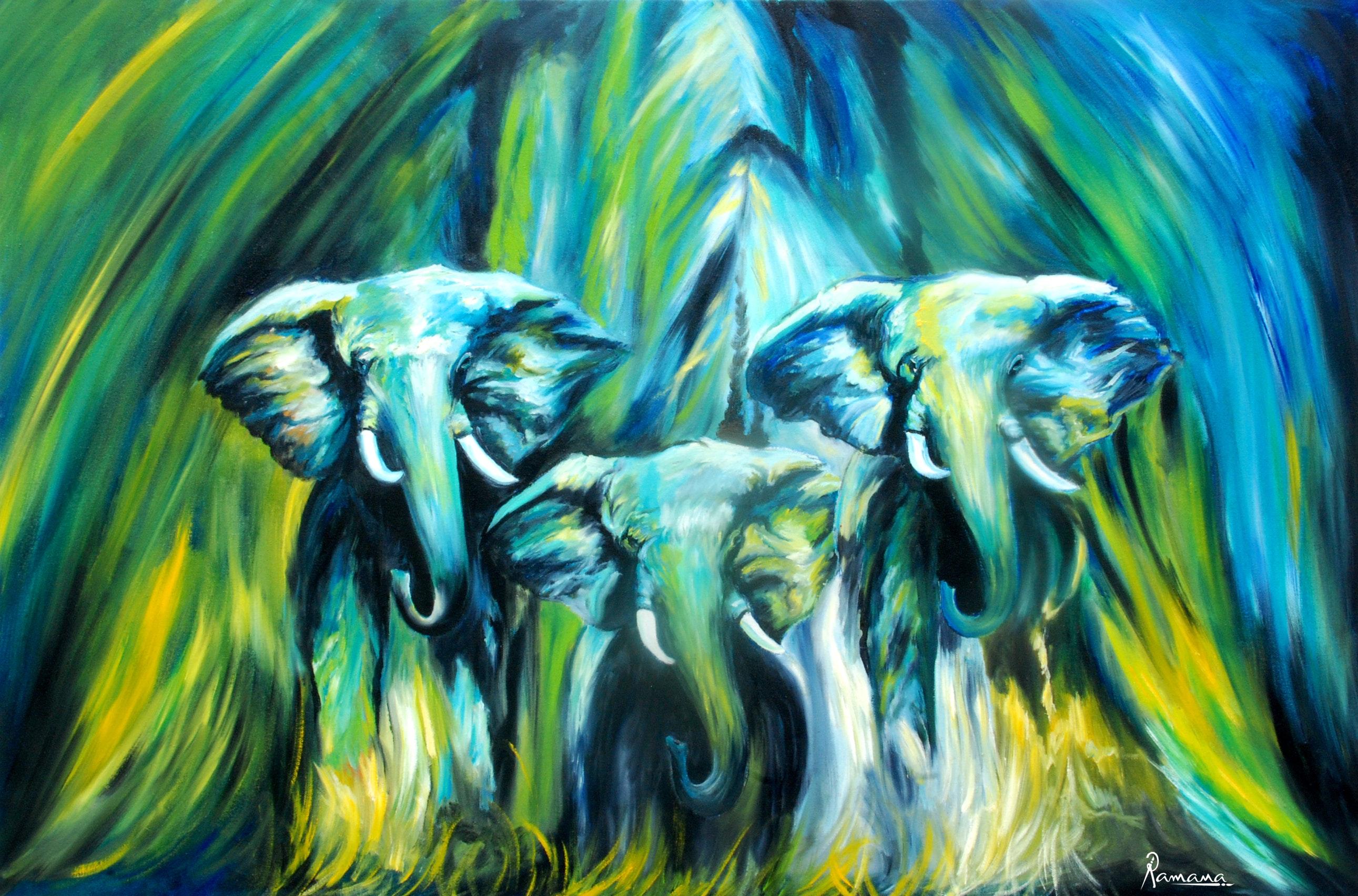 Free Elephant Oil Painting Canvas Modern Art