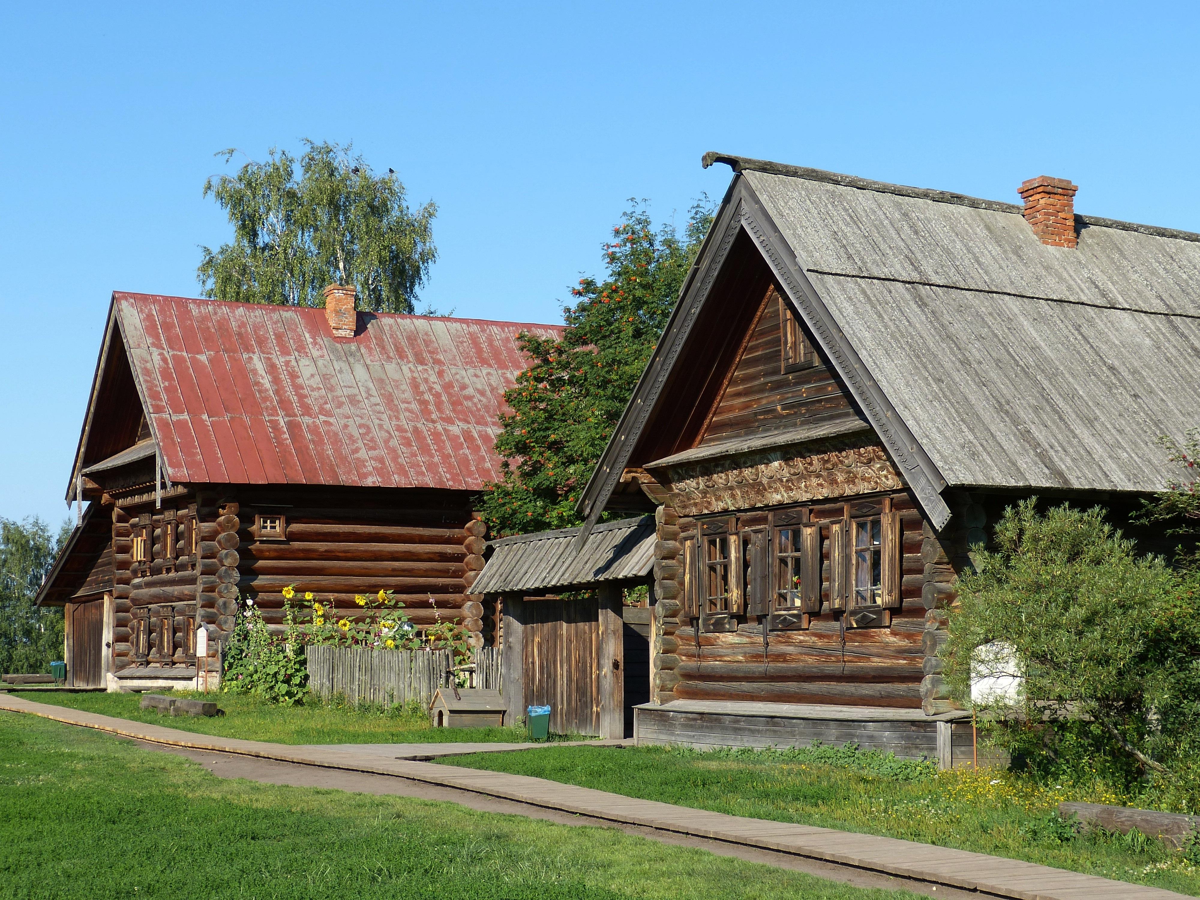 Домик в русской деревне картинки