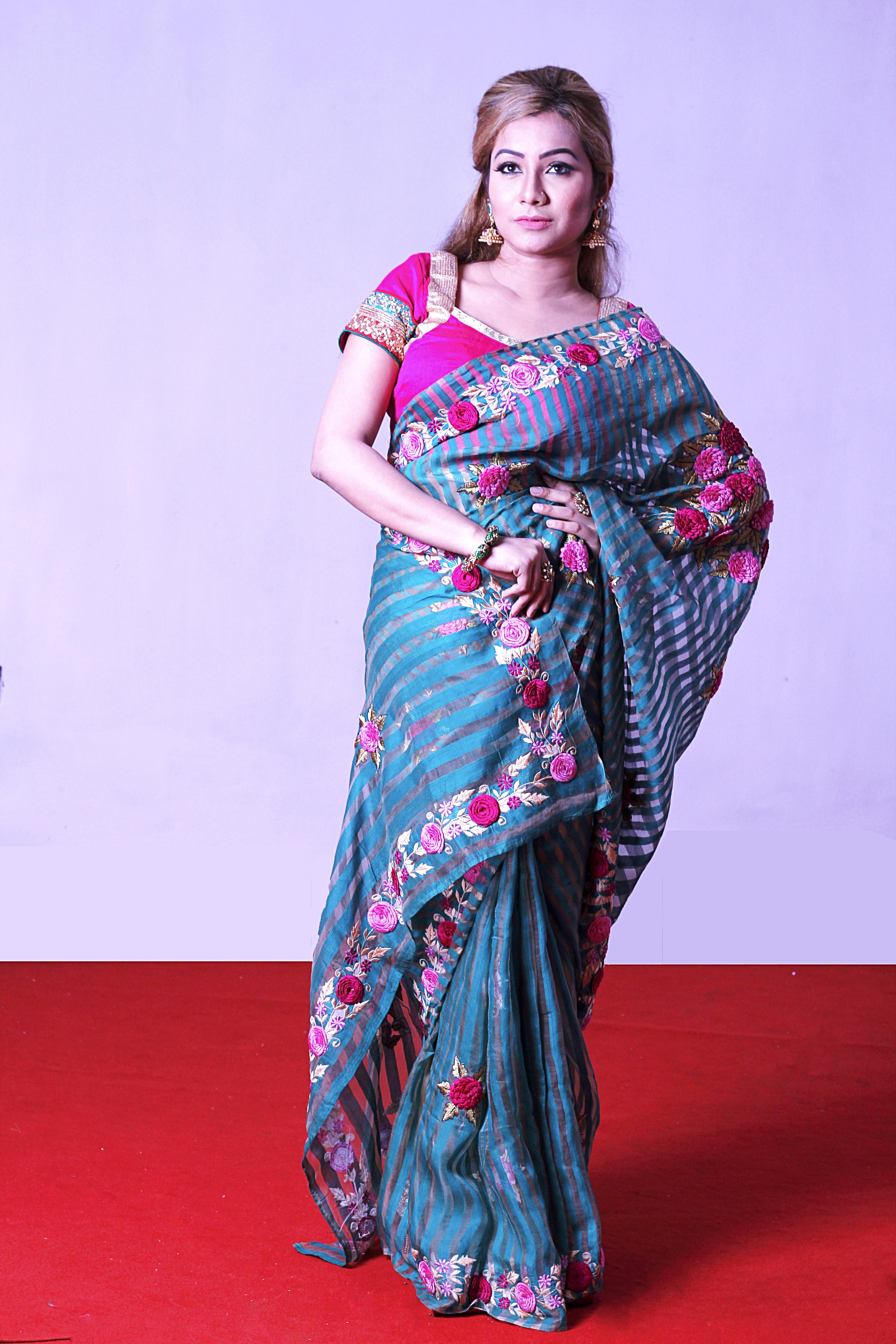Free Images : female, model, clothing, dress, women, sari, magenta ...