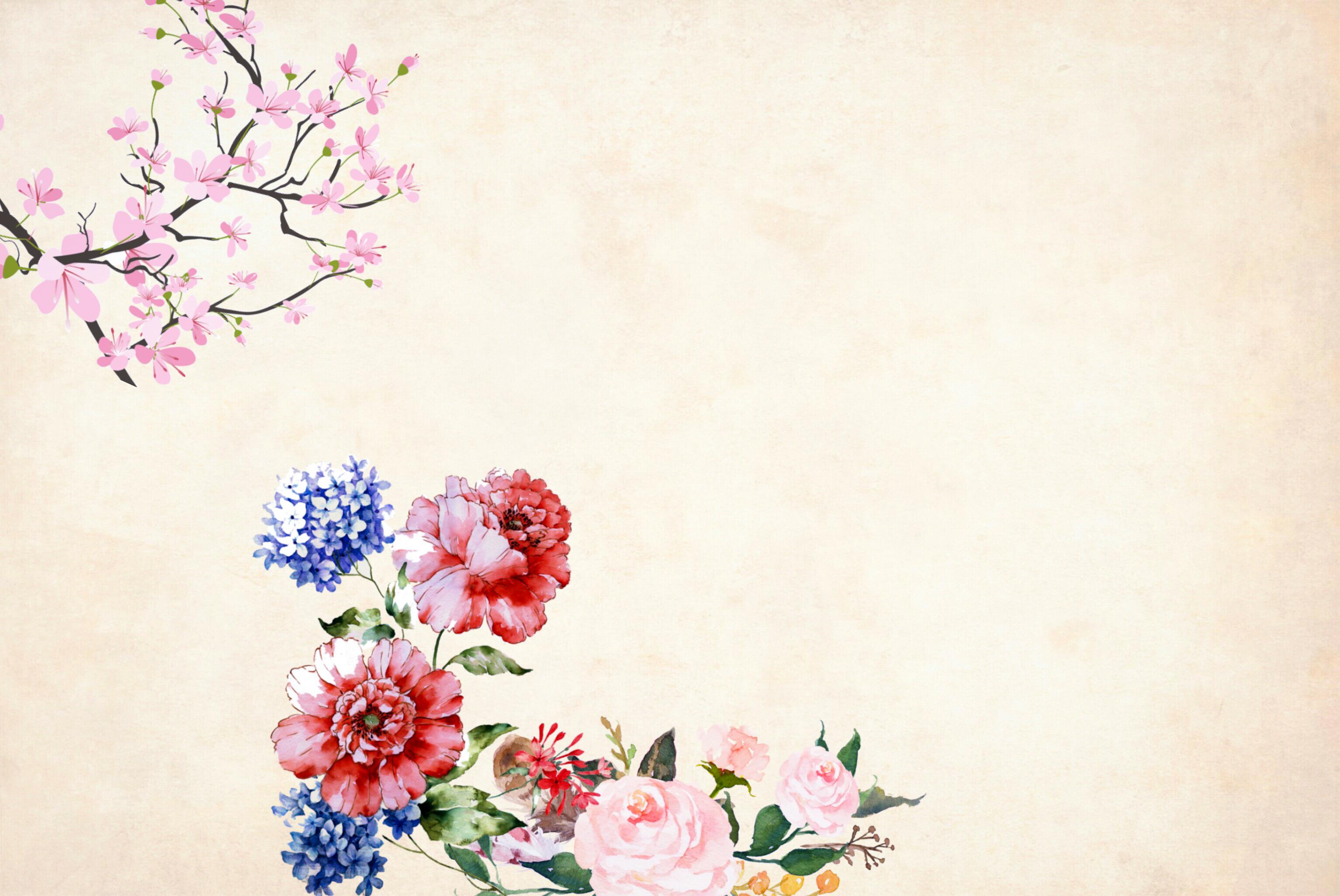 Gambar Latar Belakang Kertas Vintage Mawar Gugus